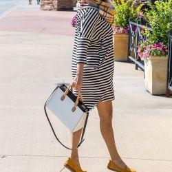 Striped Dress + Plaid Blanket Scarf