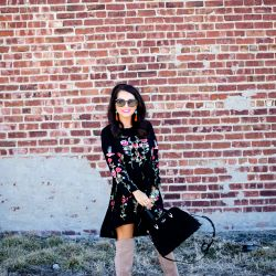 Embroidered Floral Dress + OTK Boots