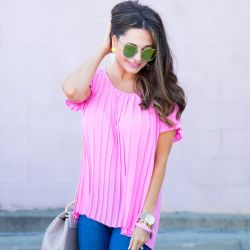 Pink Pleated Top + Floral Appliqué Heels