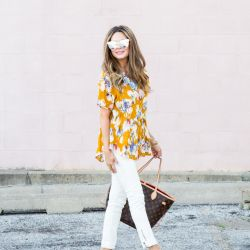 $11 Floral Peplum Top + White Moto Leggings