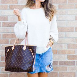Cozy Pullover to Wear Now & Later + Distressed Denim Mini Skirt