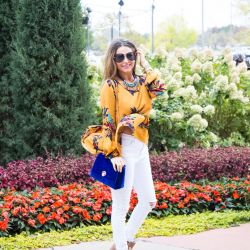 Yellow Floral Peplum for $13, Statement Necklace + Best Booties for Fall & Winter
