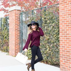Burgundy Bell Sleeve Sweater, Leopard Booties + 20% Discount Code