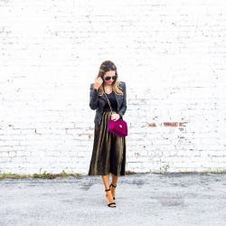 Holiday Outfit Idea: Gold Pleated Midi Skirt + Velvet Top, Both Under $27!