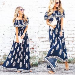 Navy Maxi Dress that is Perfect for a Summer Wedding