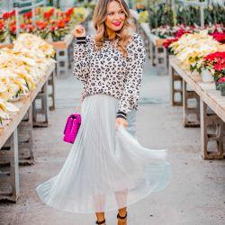 Luxe Leopard Sweater + Pleated Midi Skirt