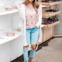 Thinking Spring While Dressing for Winter in a Fuzzy Cardi and Floral Waffle Knit Thermal