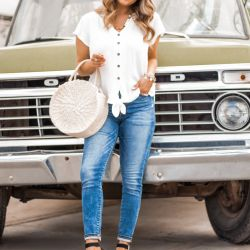 Under $40 Espadrille Sandals with Darling White Tie Shirt