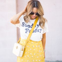 Sunday Funday Tee Paired with Floral Yellow Skirt + Favorite Sunday Spots in Omaha