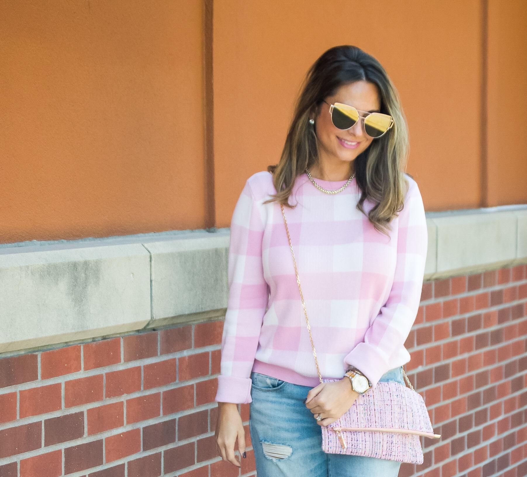 Pink Gingham Sweater Boyfriend Jeans Sabby Stylesabby