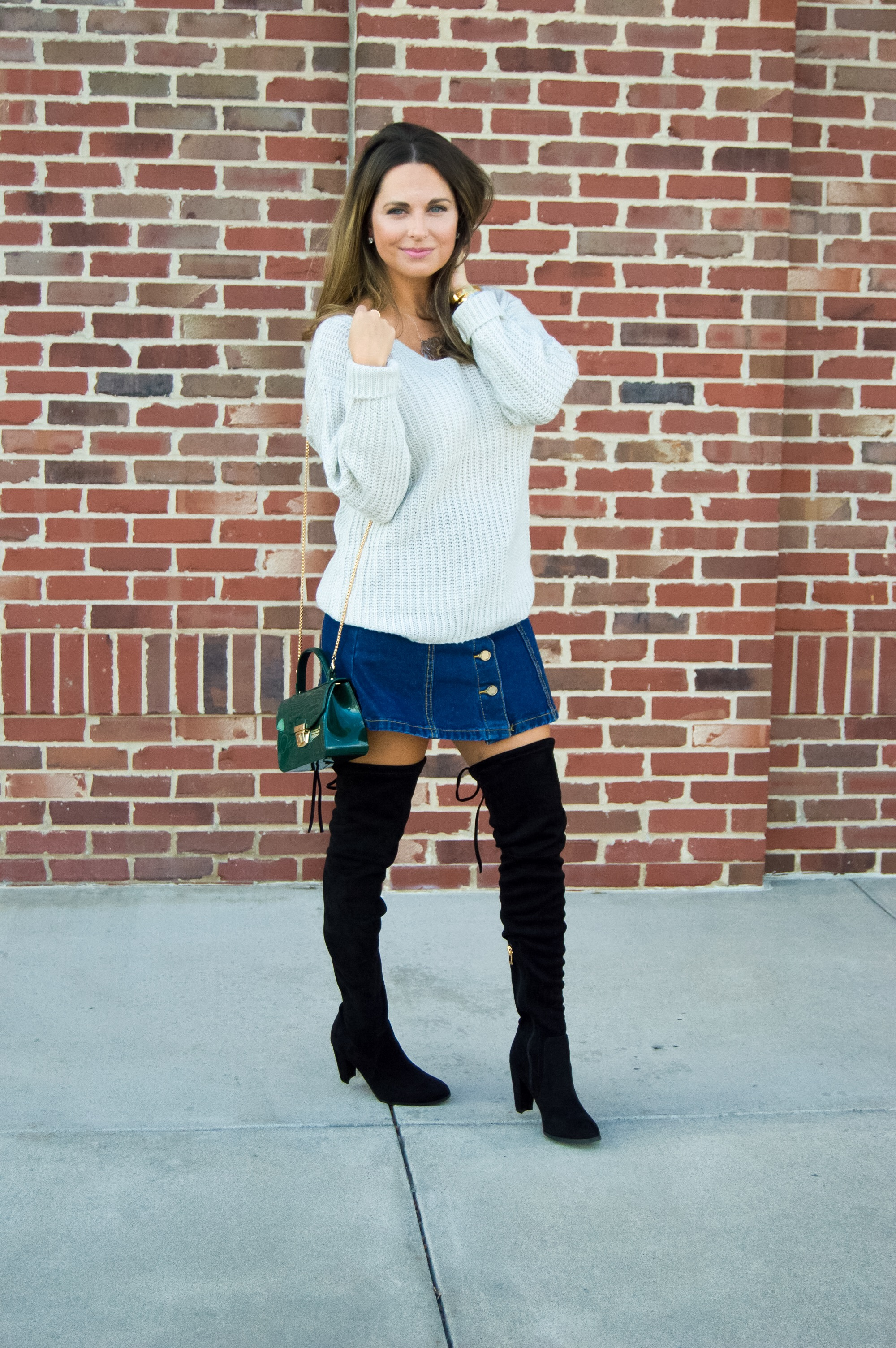2019 year lifestyle- Mini denim skirt and boots