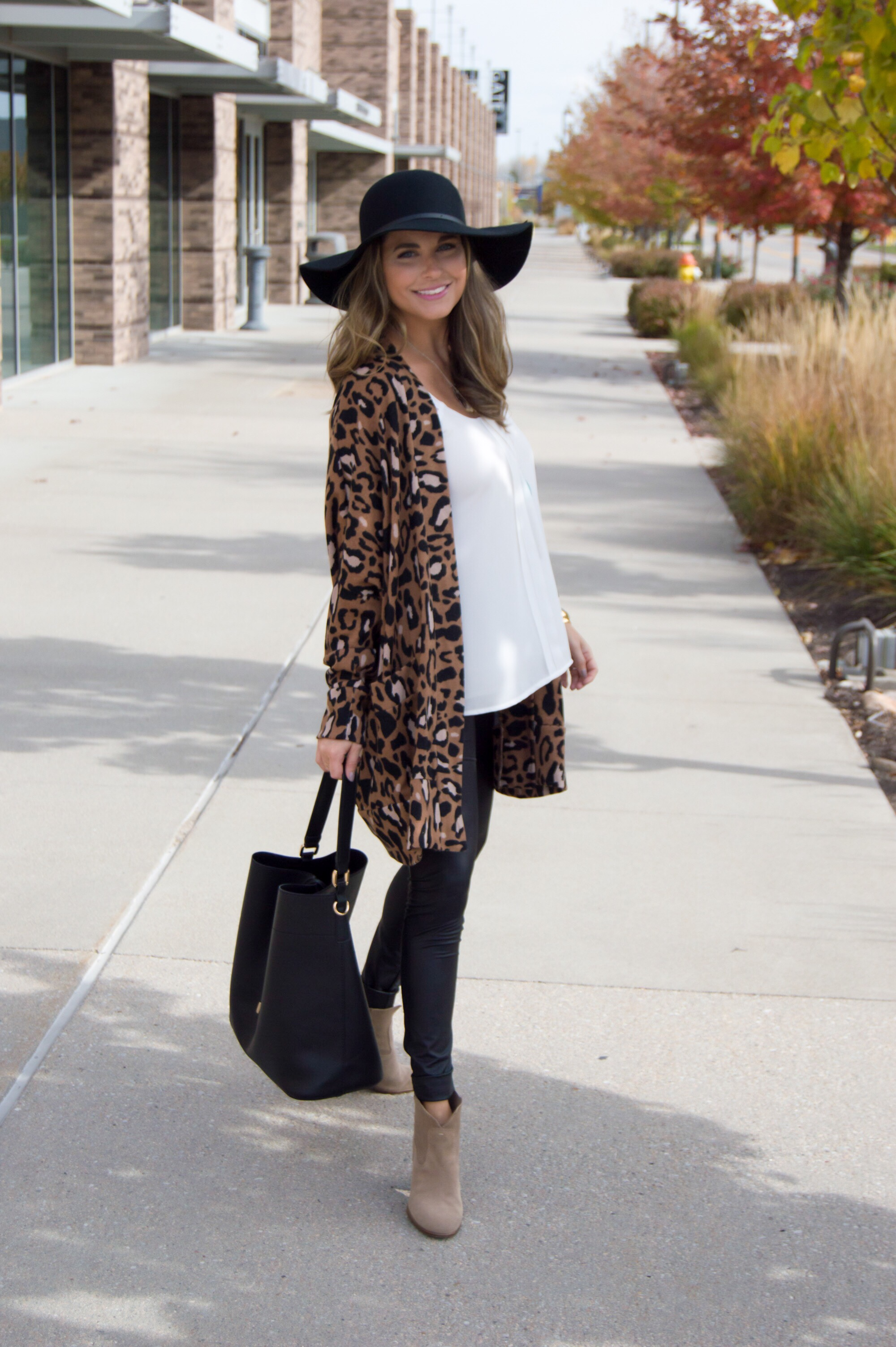 Oversized Leopard Cardigan   Bucket Bag | Sabby Style