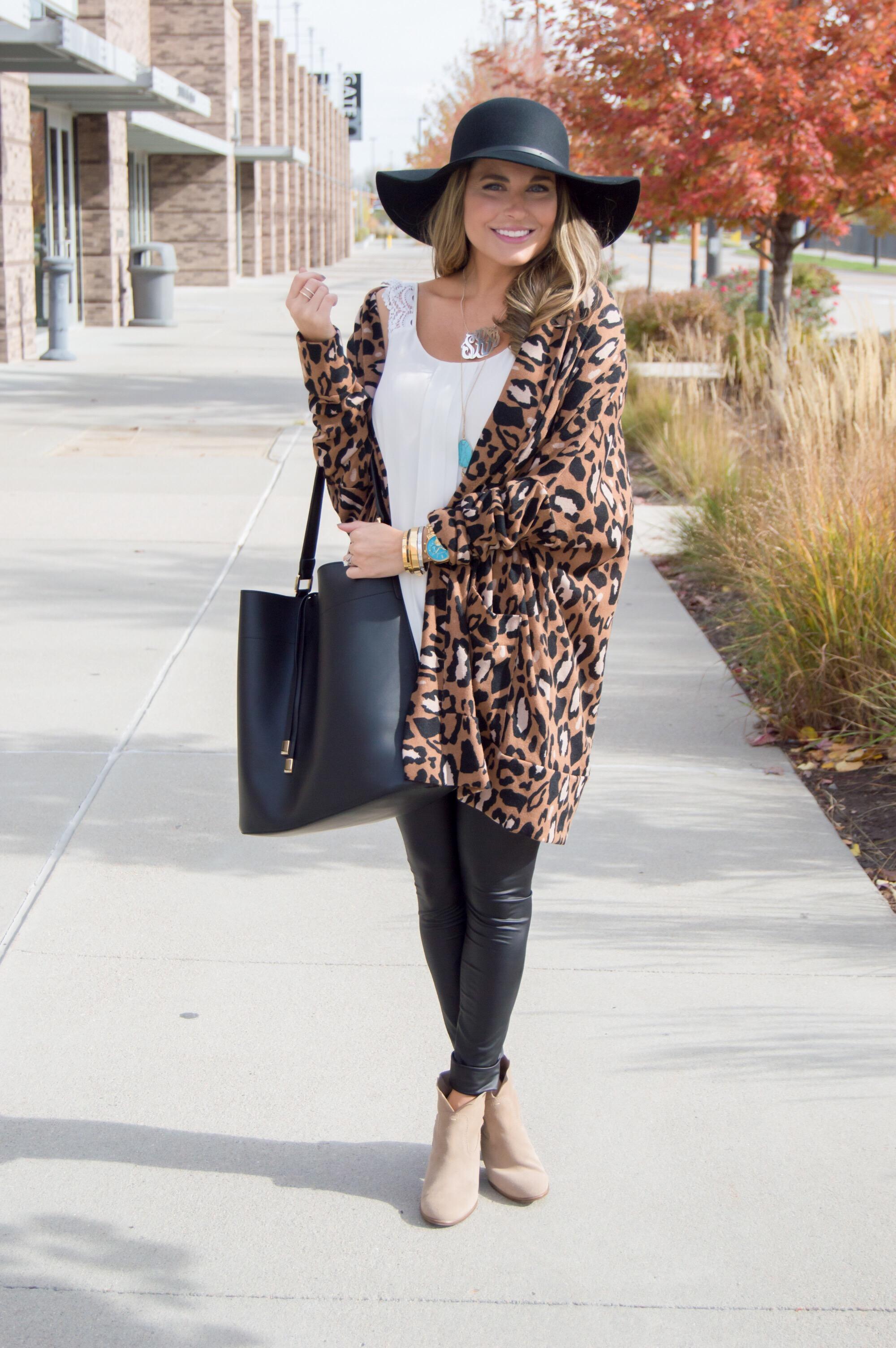 Oversized Leopard Cardigan   Bucket Bag | Sabby Style