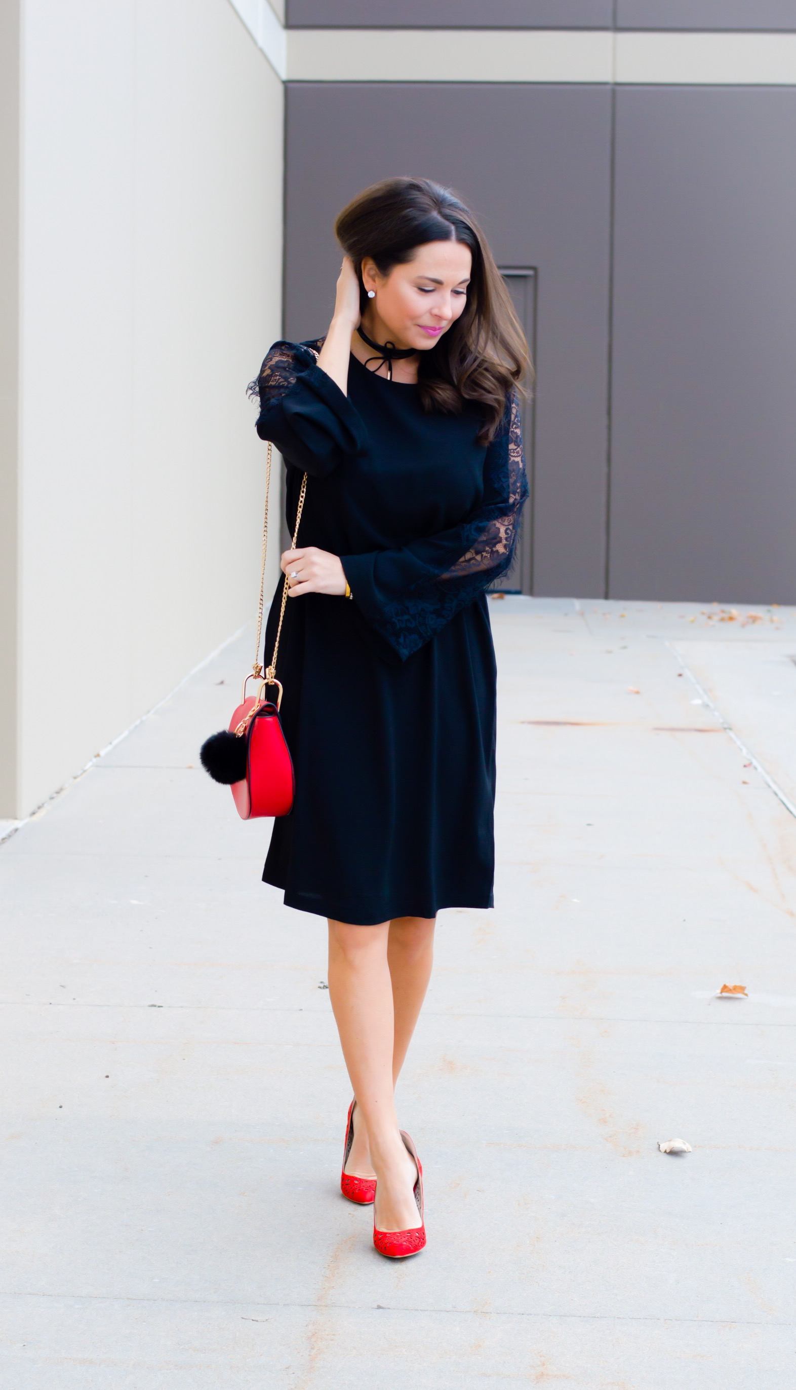 Red Lace Dress With Bell Sleeves