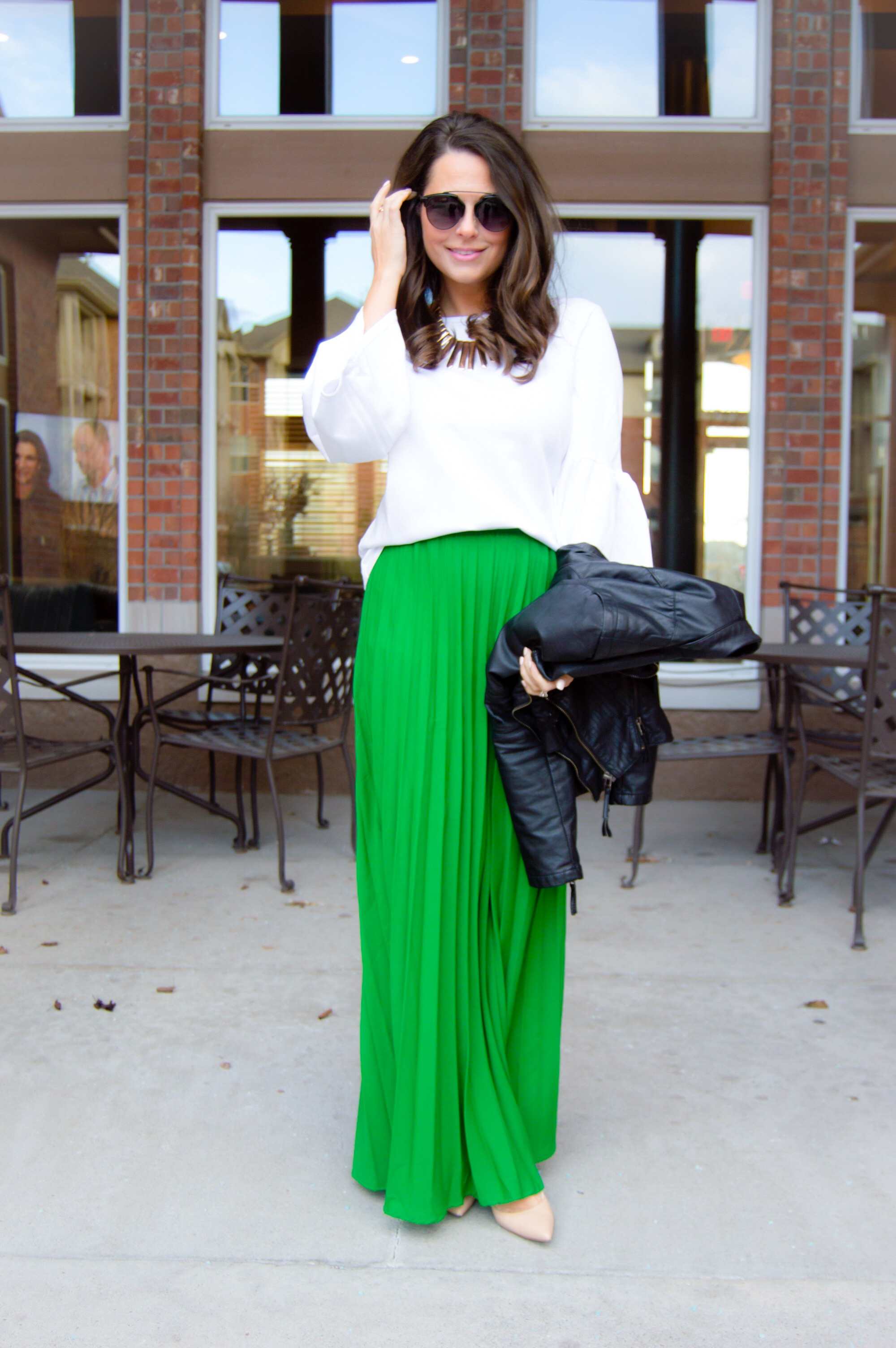 d69947630a Green Maxi Skirt White Top | Saddha