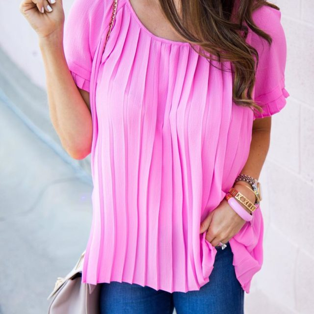The most perfect pink pleats are comin in hottt todayhellip