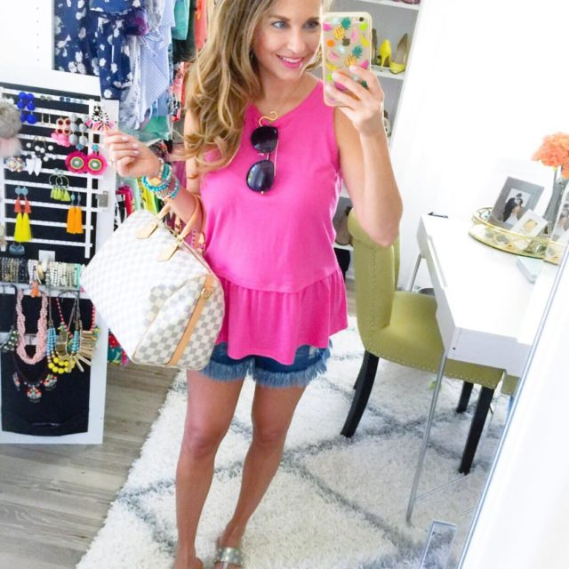 Pink peplum frayed shorts amp the comfiest sandals from hammittlahellip