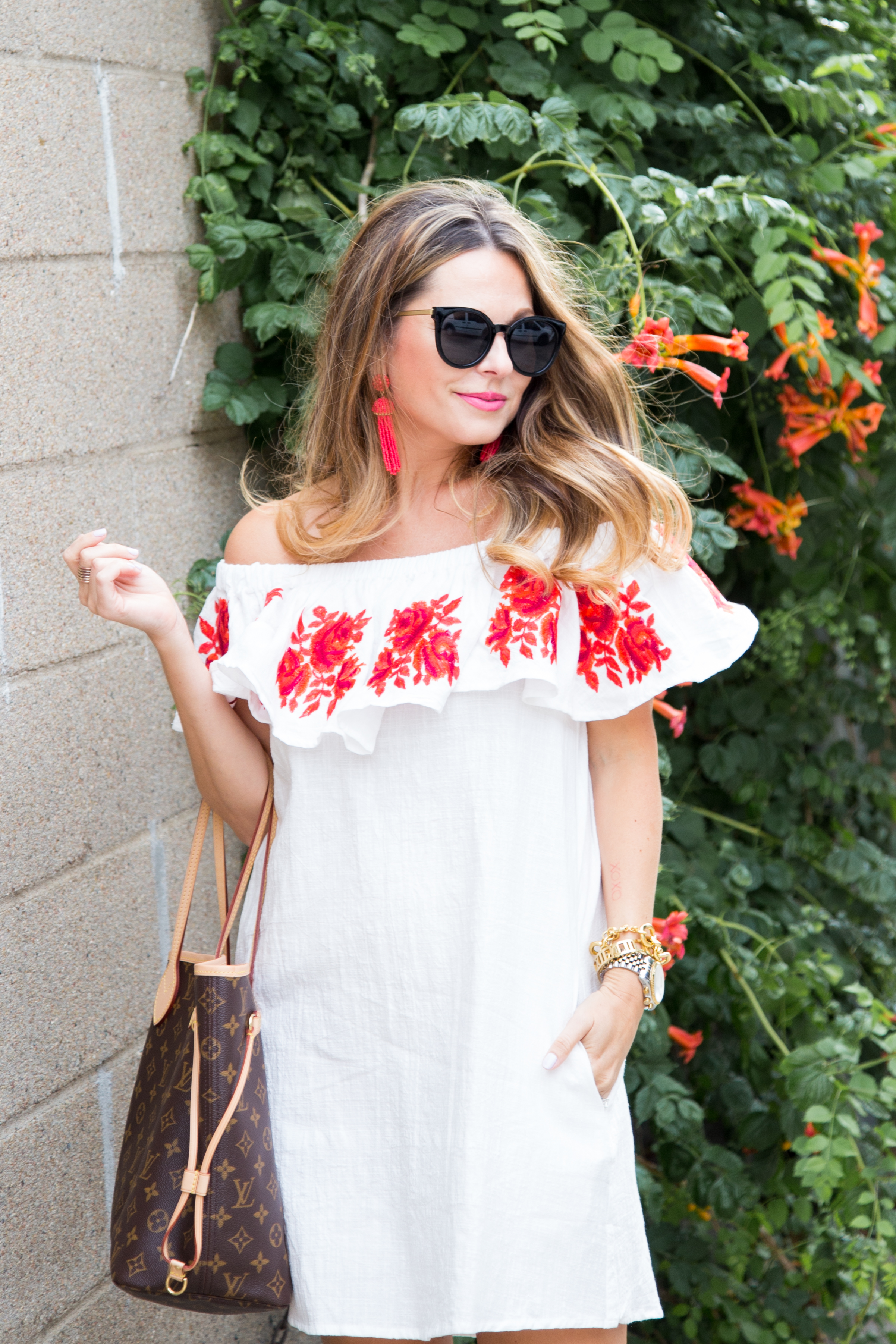 33 White Off The Shoulder Dress With Red Embroidered Flowers