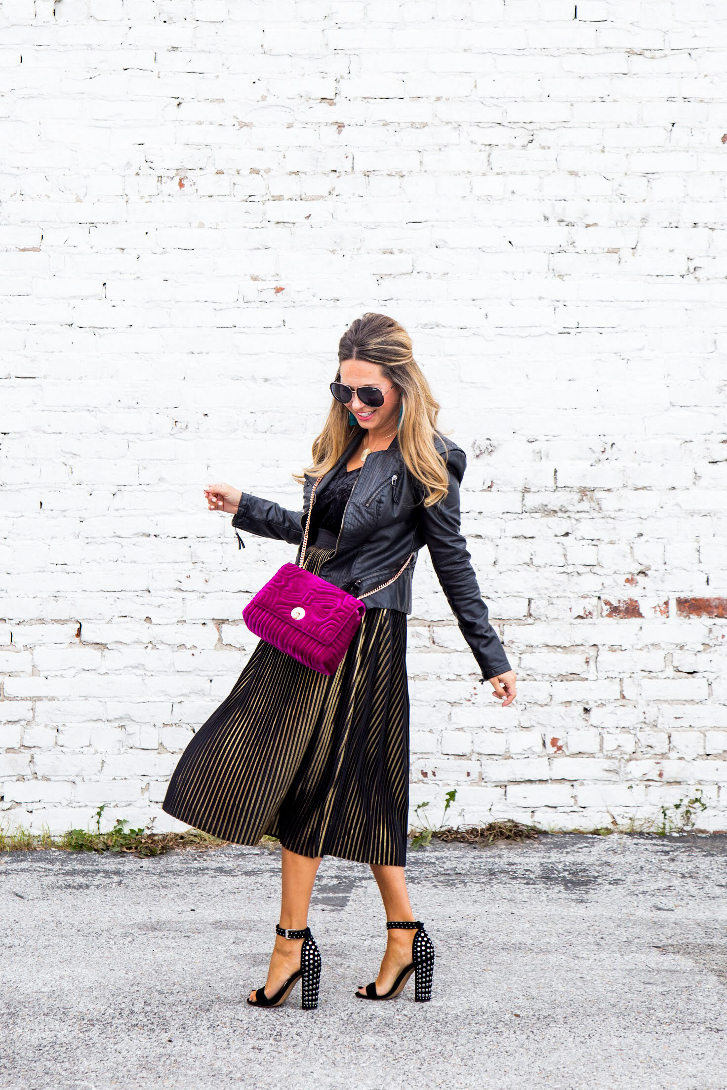 b404f341c Holiday Outfit Idea: Gold Pleated Midi Skirt + Velvet Top, Both Under $27!