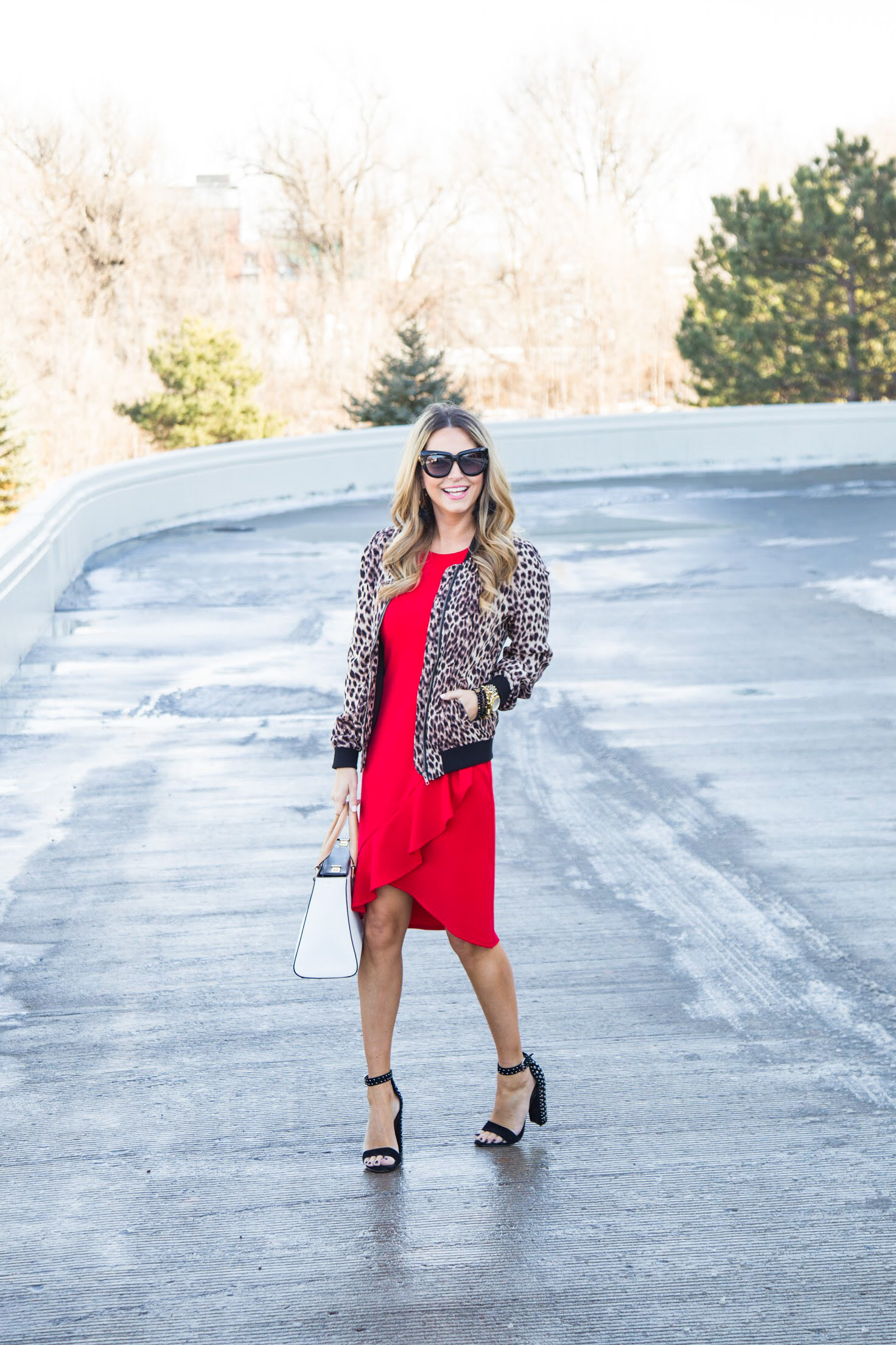 red dress from Gordmans with leopard bomber jacket and embellished heels from Nordstrom