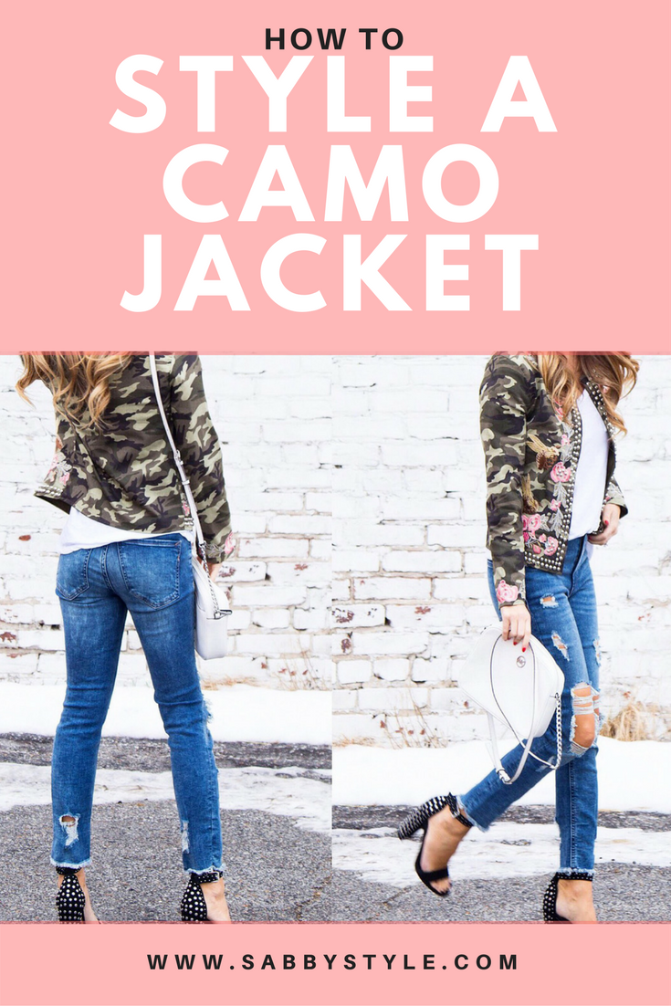 Camo Jacket, How to Style a Camo Jacket, Fashion Blogger, Floral Jacket, Embroidered Jacket, Embellished Jacket, Spring Outfit, Outfit Inspiration