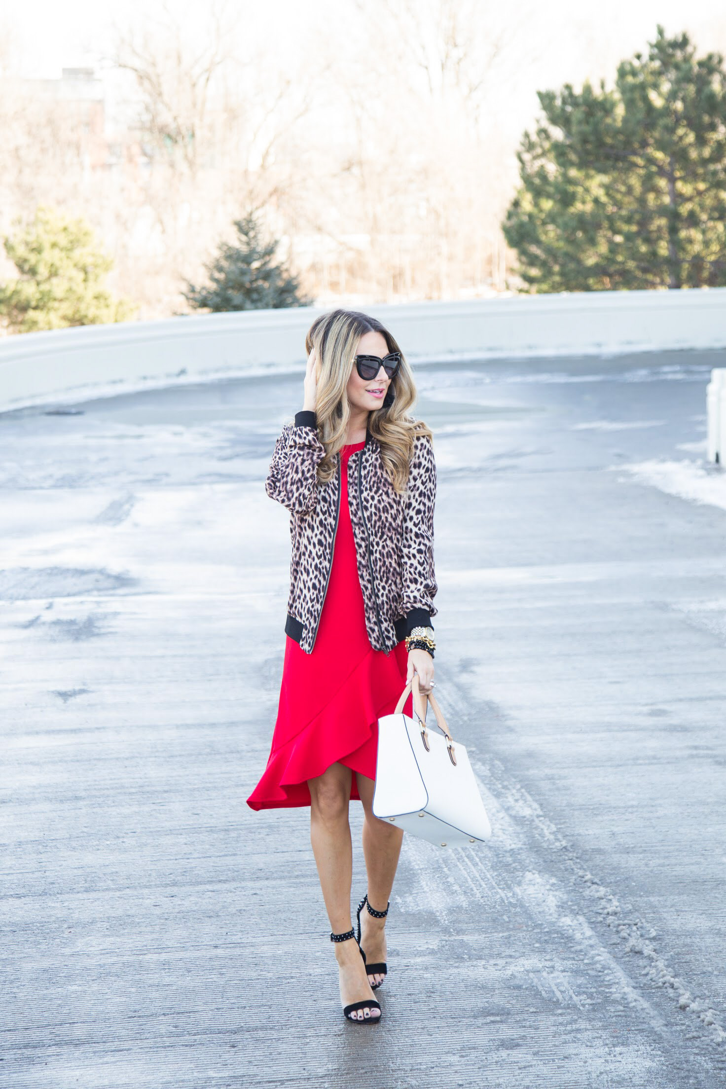 red dress with ruffle hem from Gordmans with leopard bomber jacket