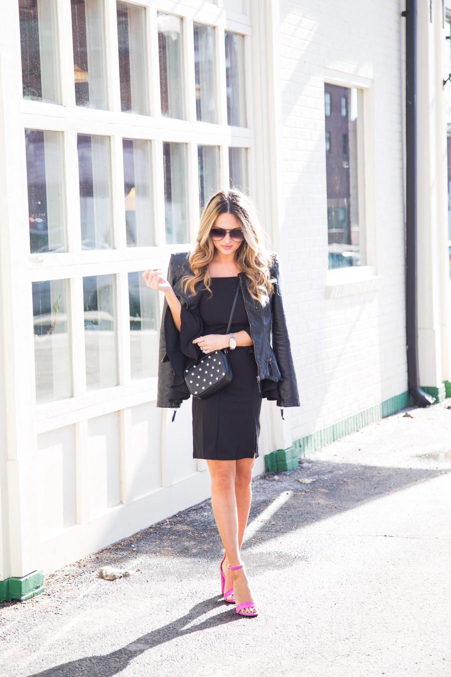 off the shoulder dress with pink Sam Edelman shoes and BLANKNYC jacket