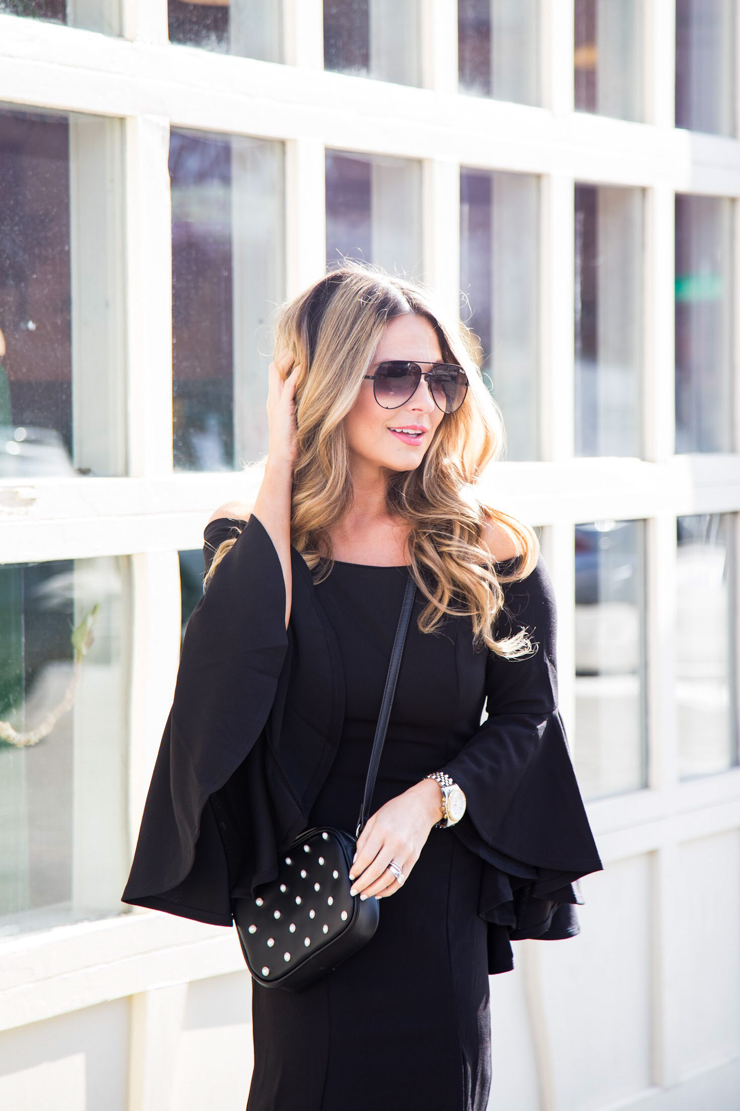 off the shoulder dress with pink Sam Edelman shoes and Quay sunglasses