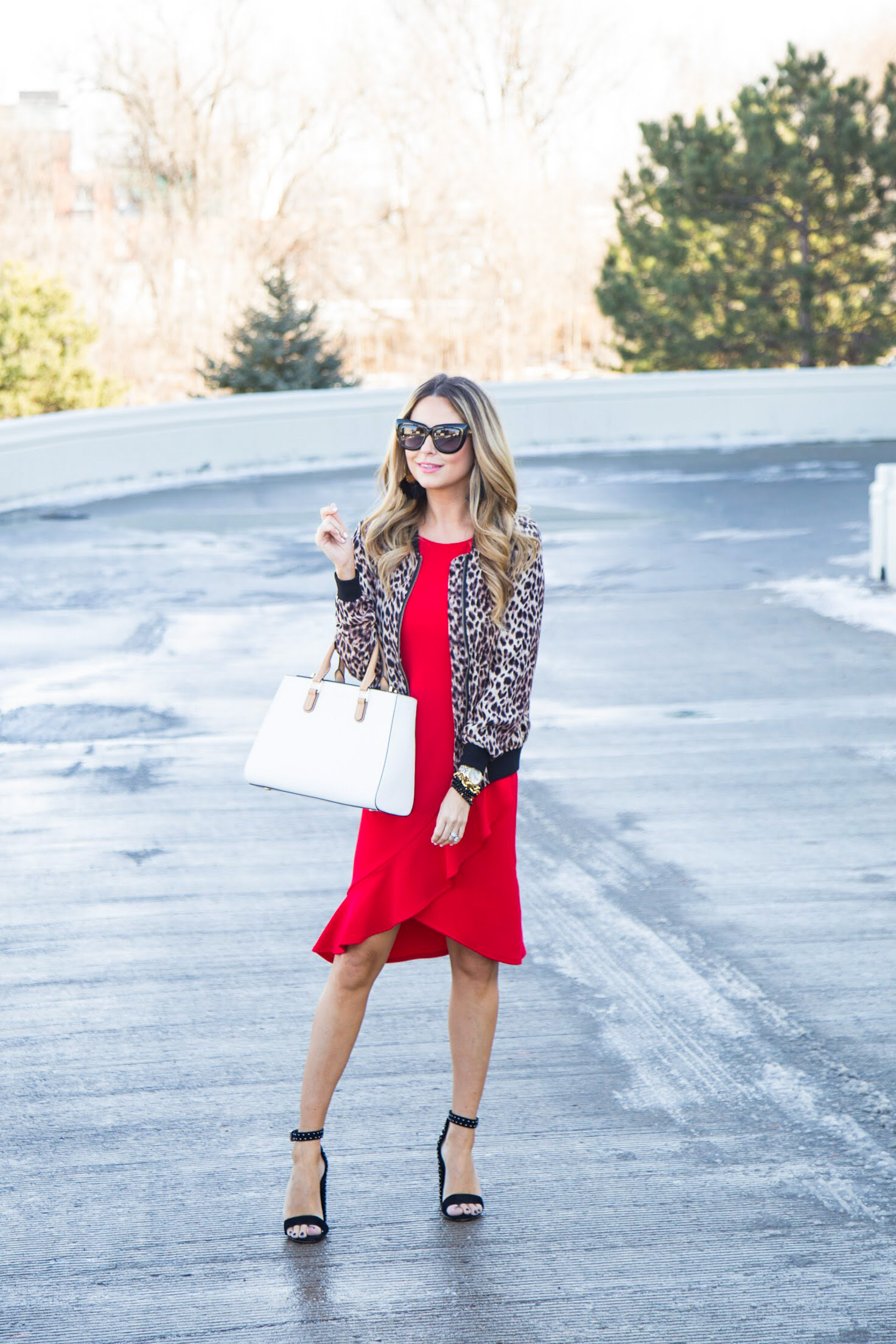 red dress from Gordmans with leopard bomber jacket