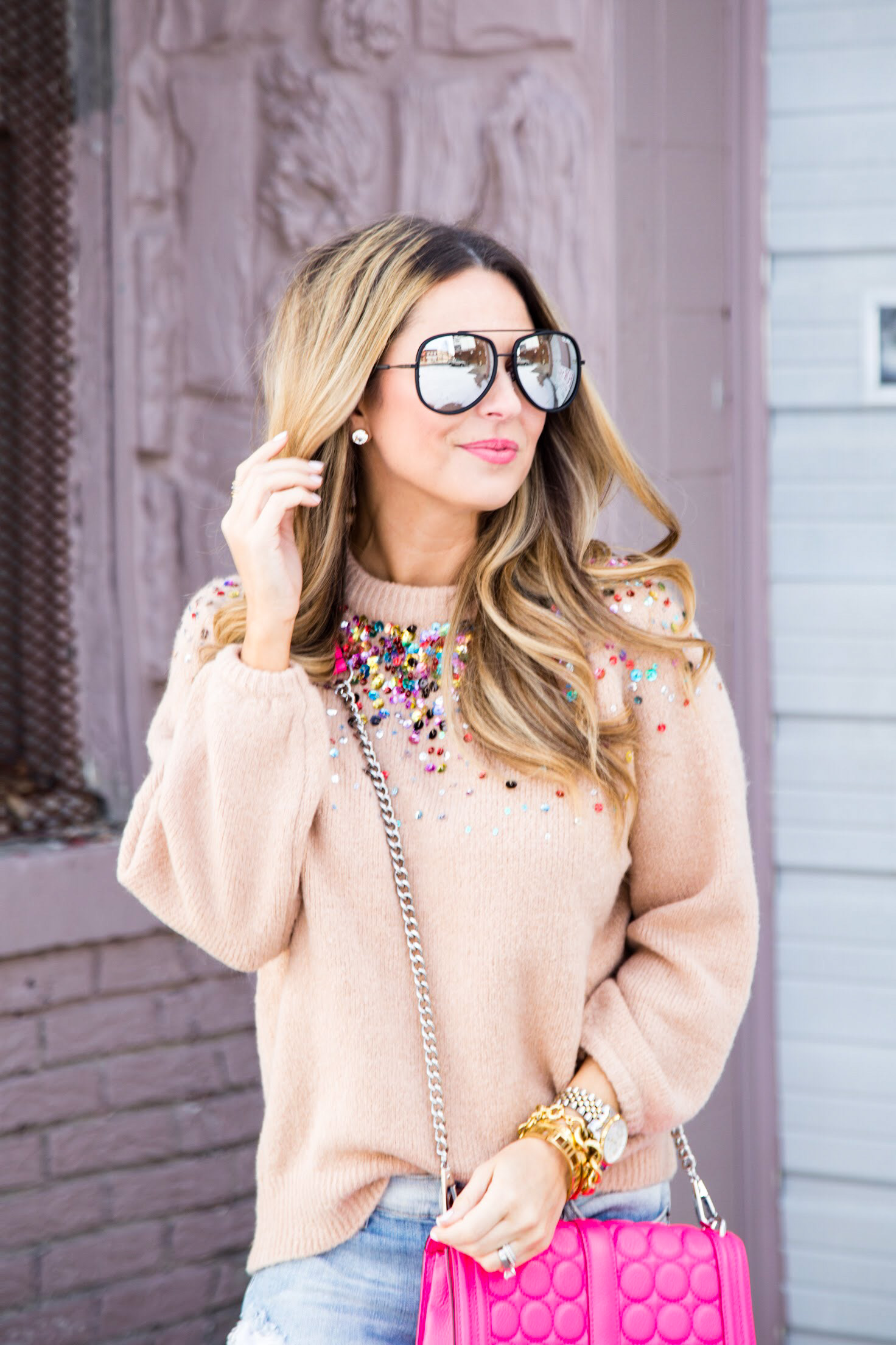 colorful sequin fun sweater, Valentine's Day look, casual date night, Quay sunglasses