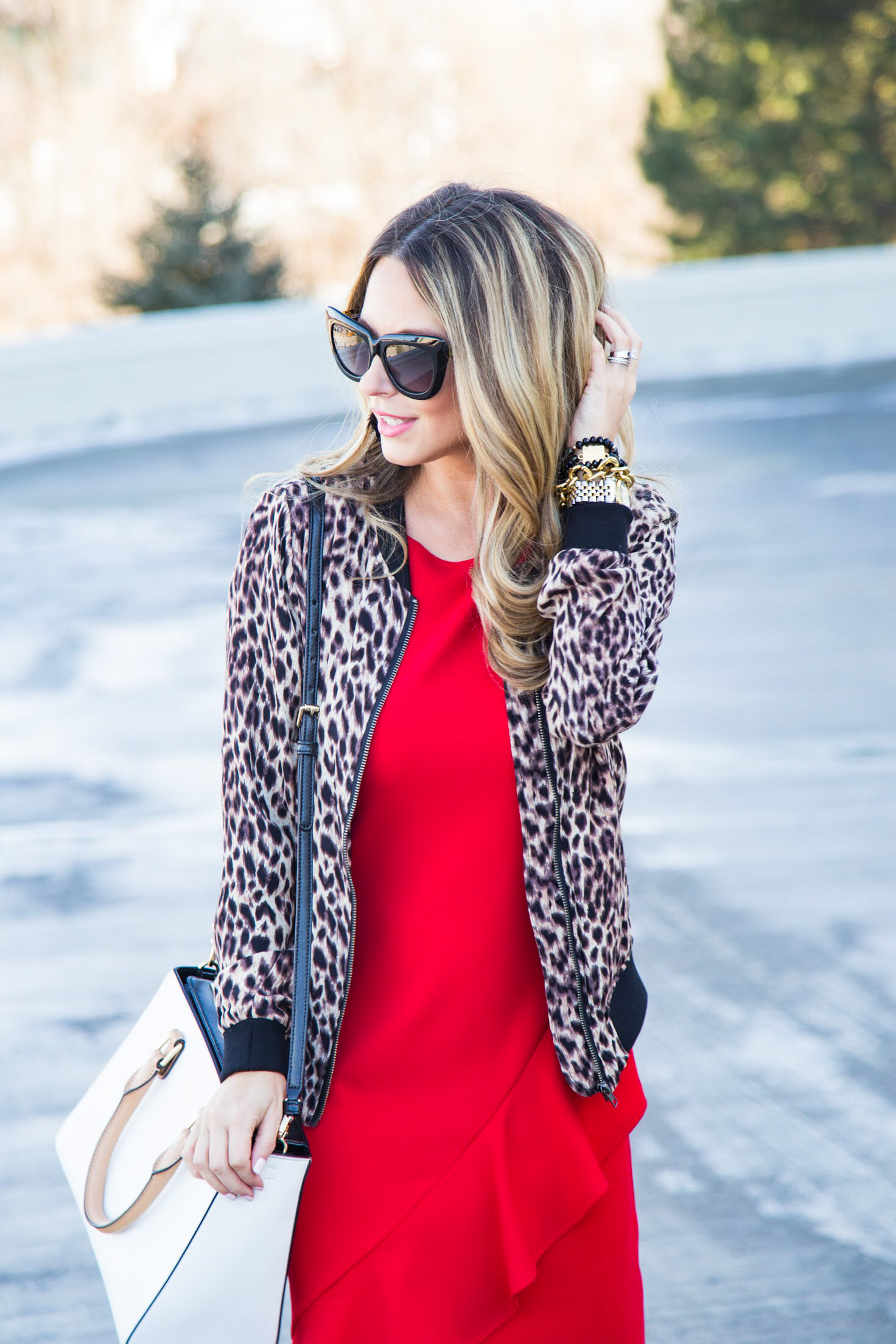 red dress and leopard jacket