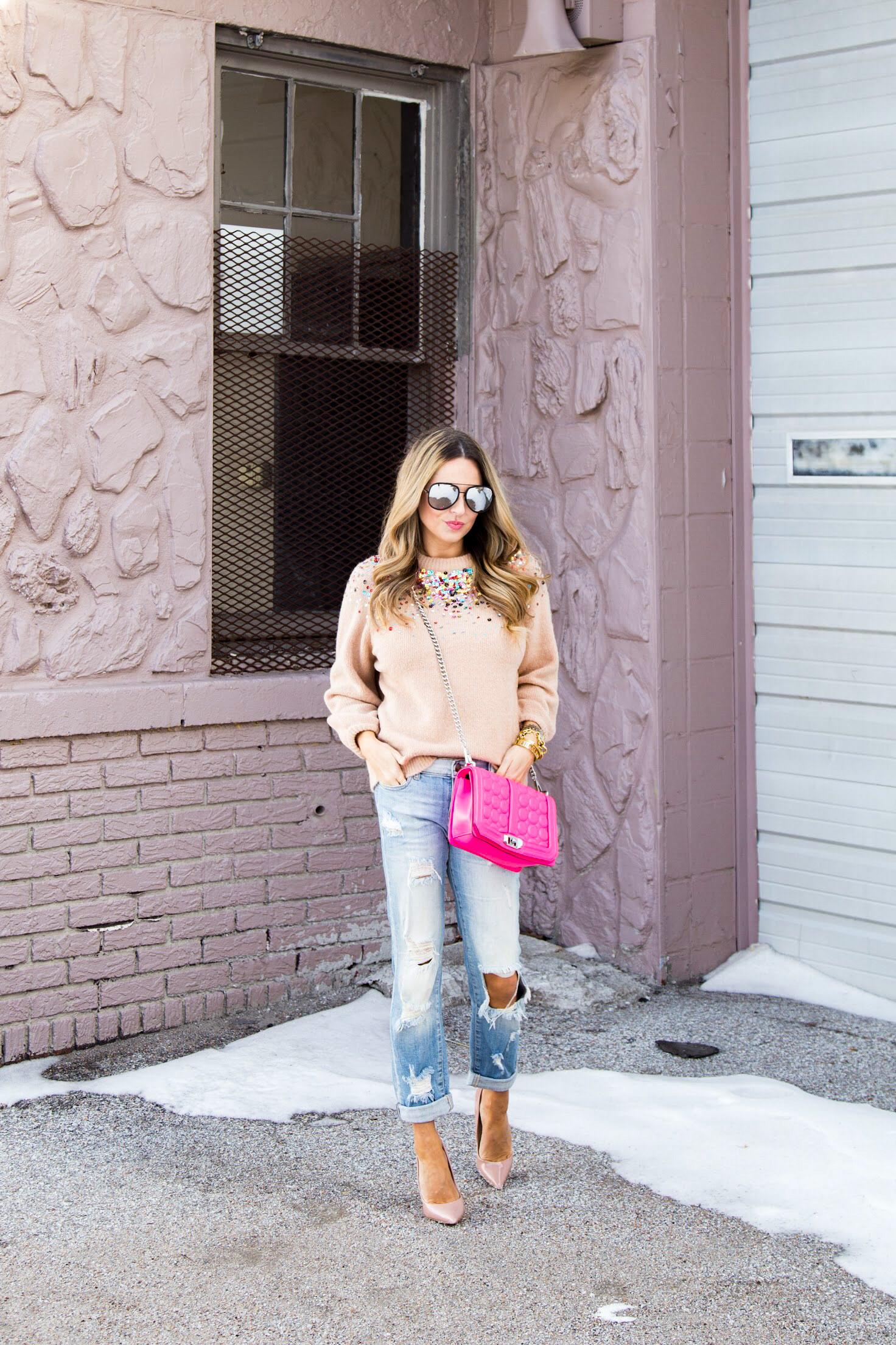 SheIn sequin sweater, pink Jumbo Rebecca Minkoff, SheIn sweater