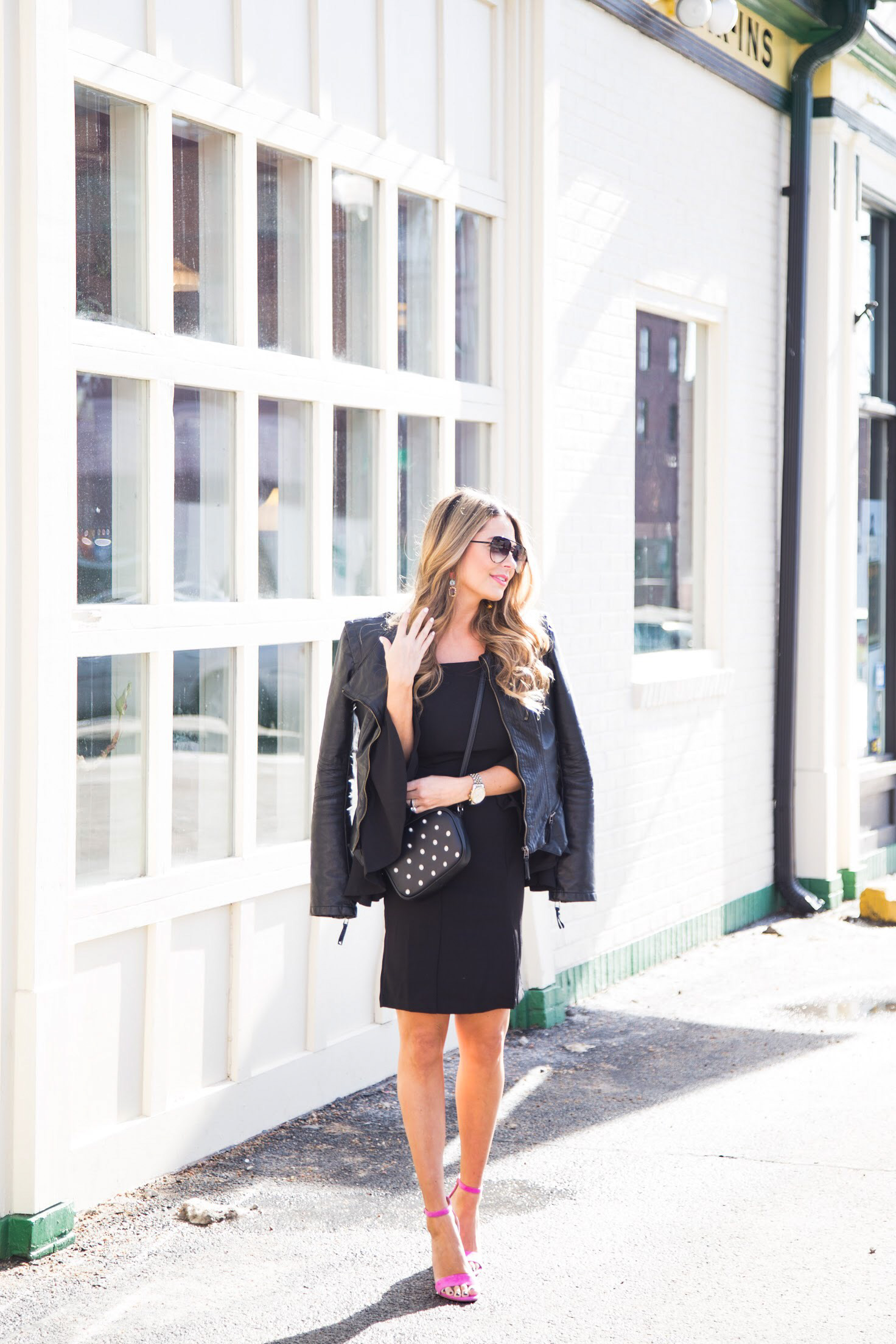 all black outfit with pink shoes, Sam Edelman Heels