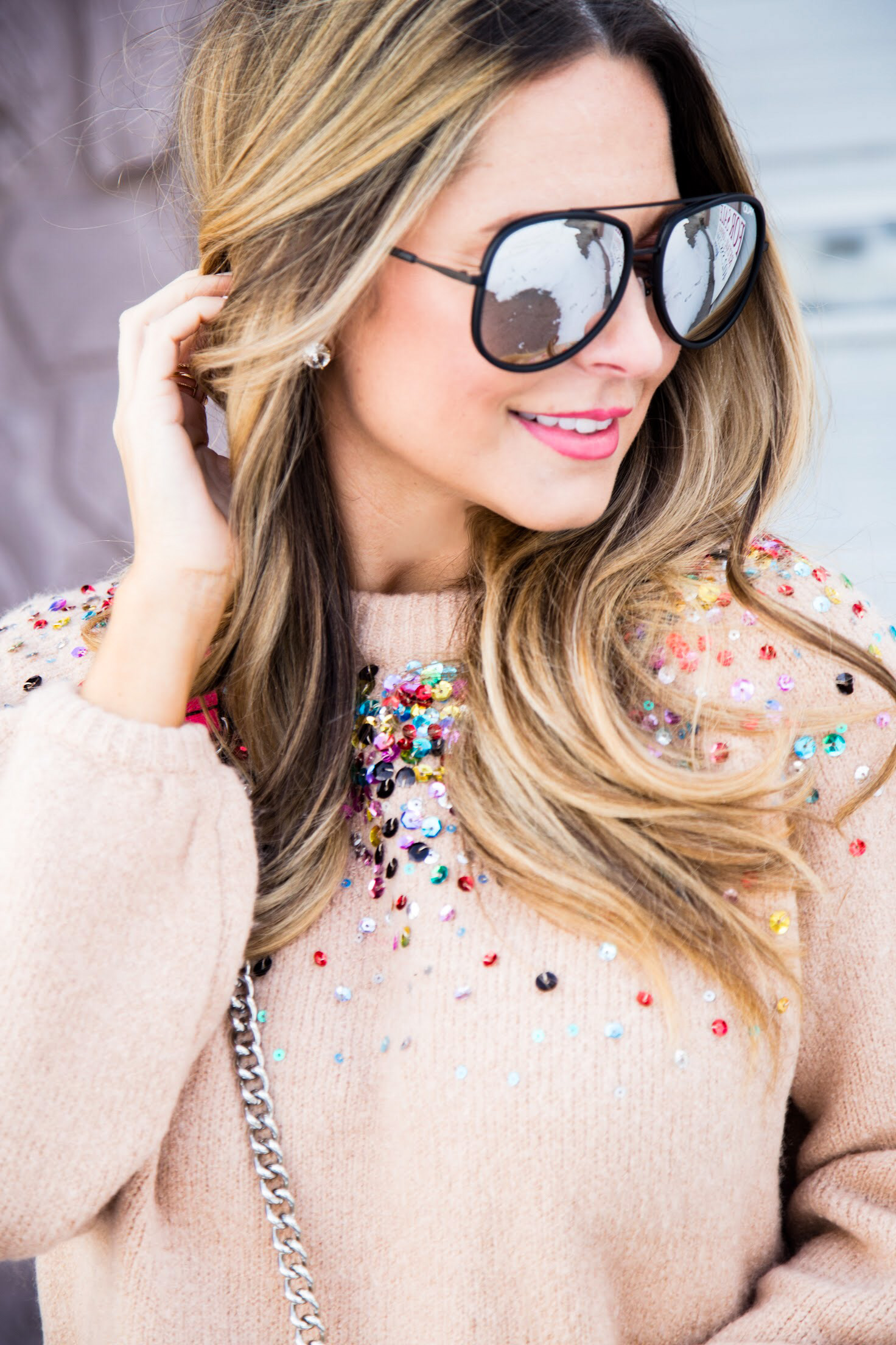 Quay aviator sunglasses, SheIn sequin sweater