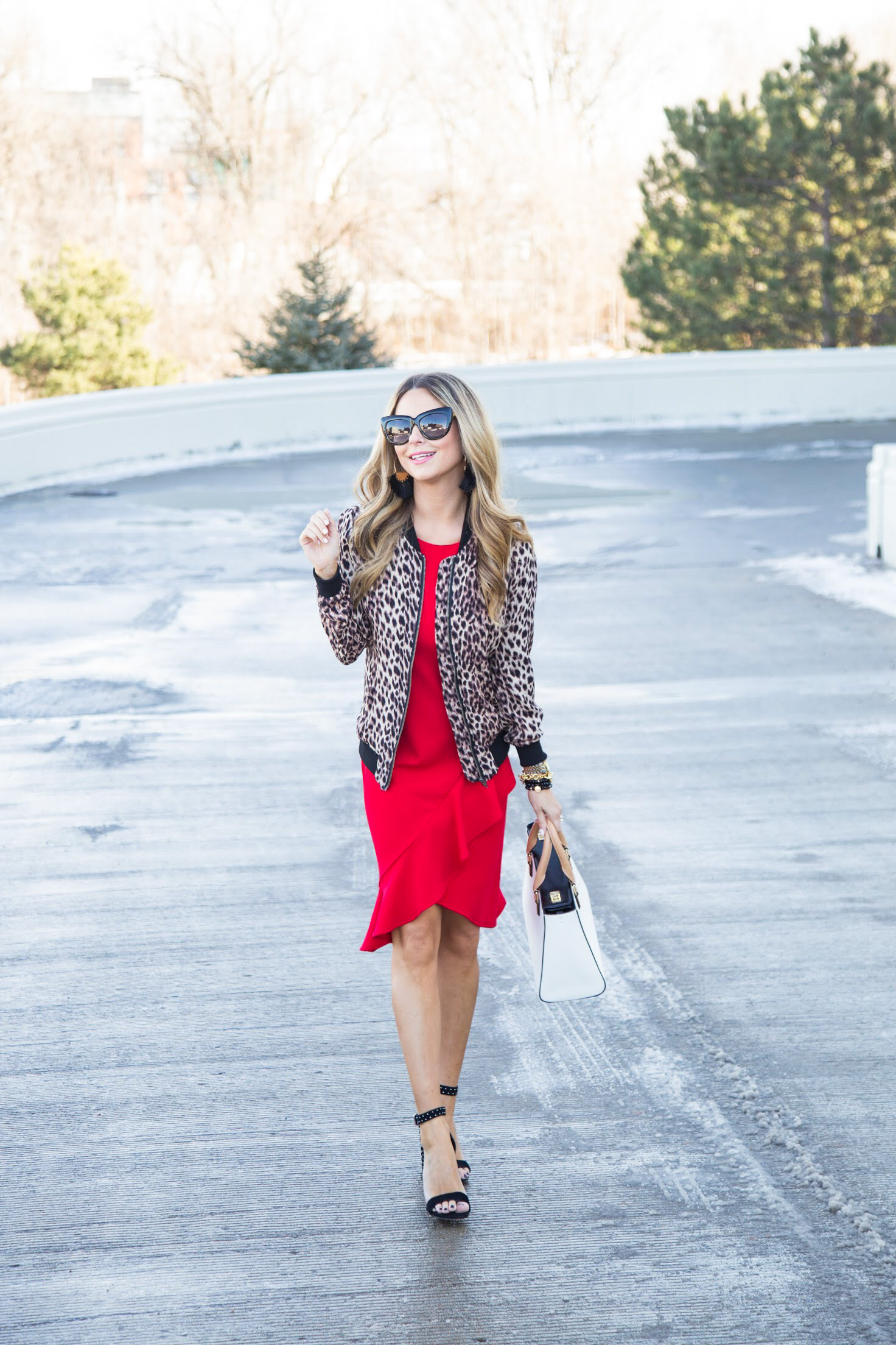 red dress and leopard jacket with black heels for Valentine's Day