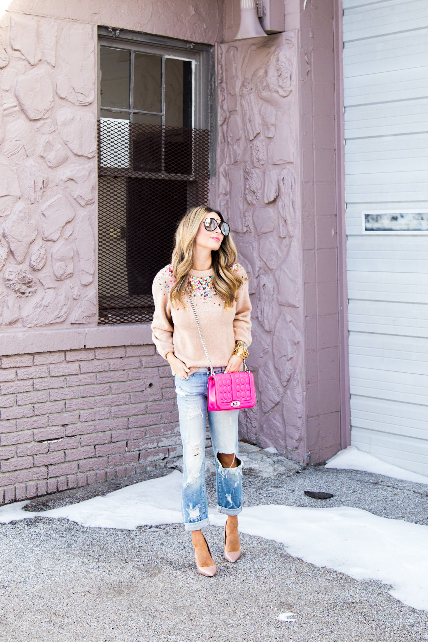 sparkle SheIn sweater, pink cross body bag, Quay sunglasses