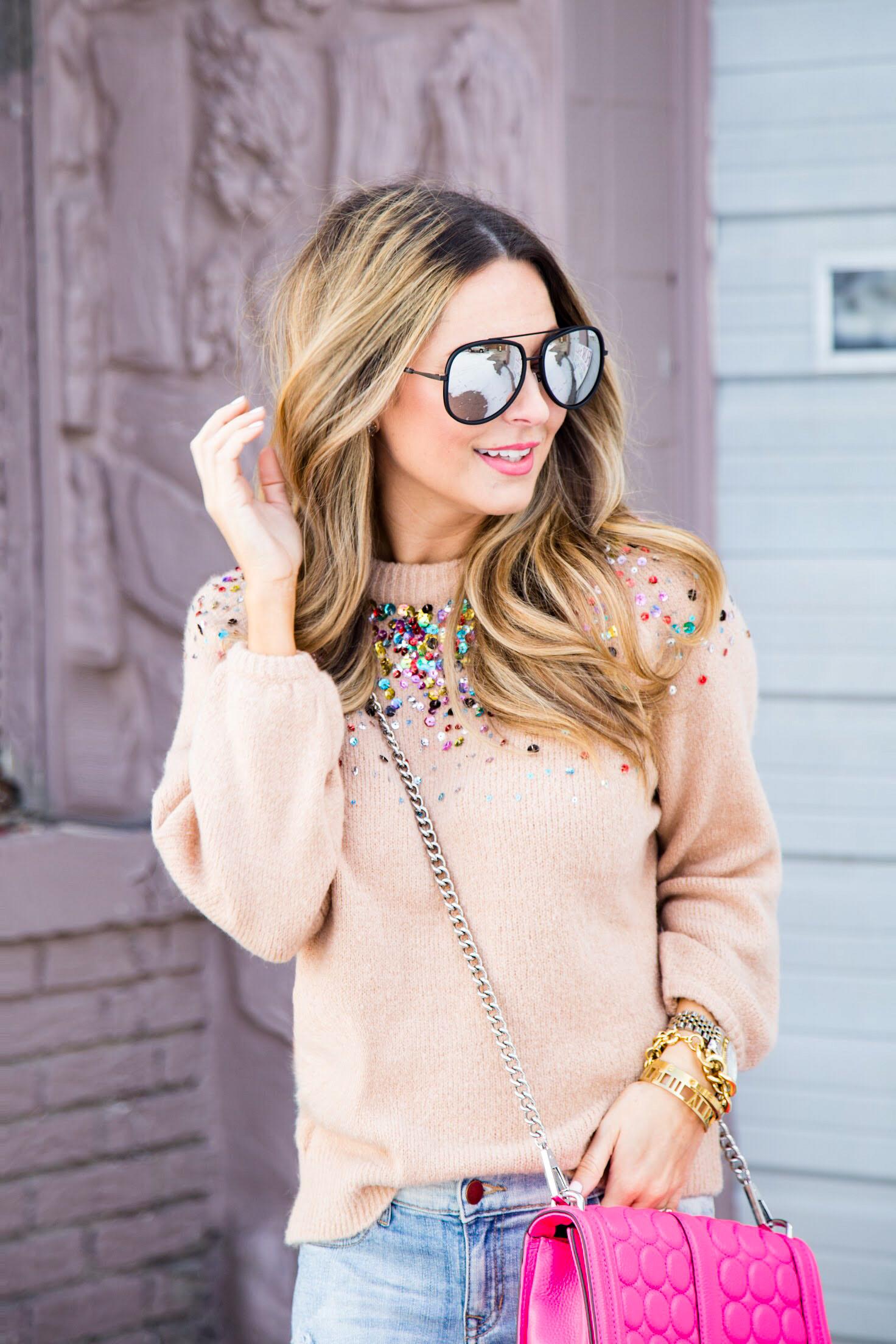 multicolored sequin sweater from SheIn, Quay sunglasses