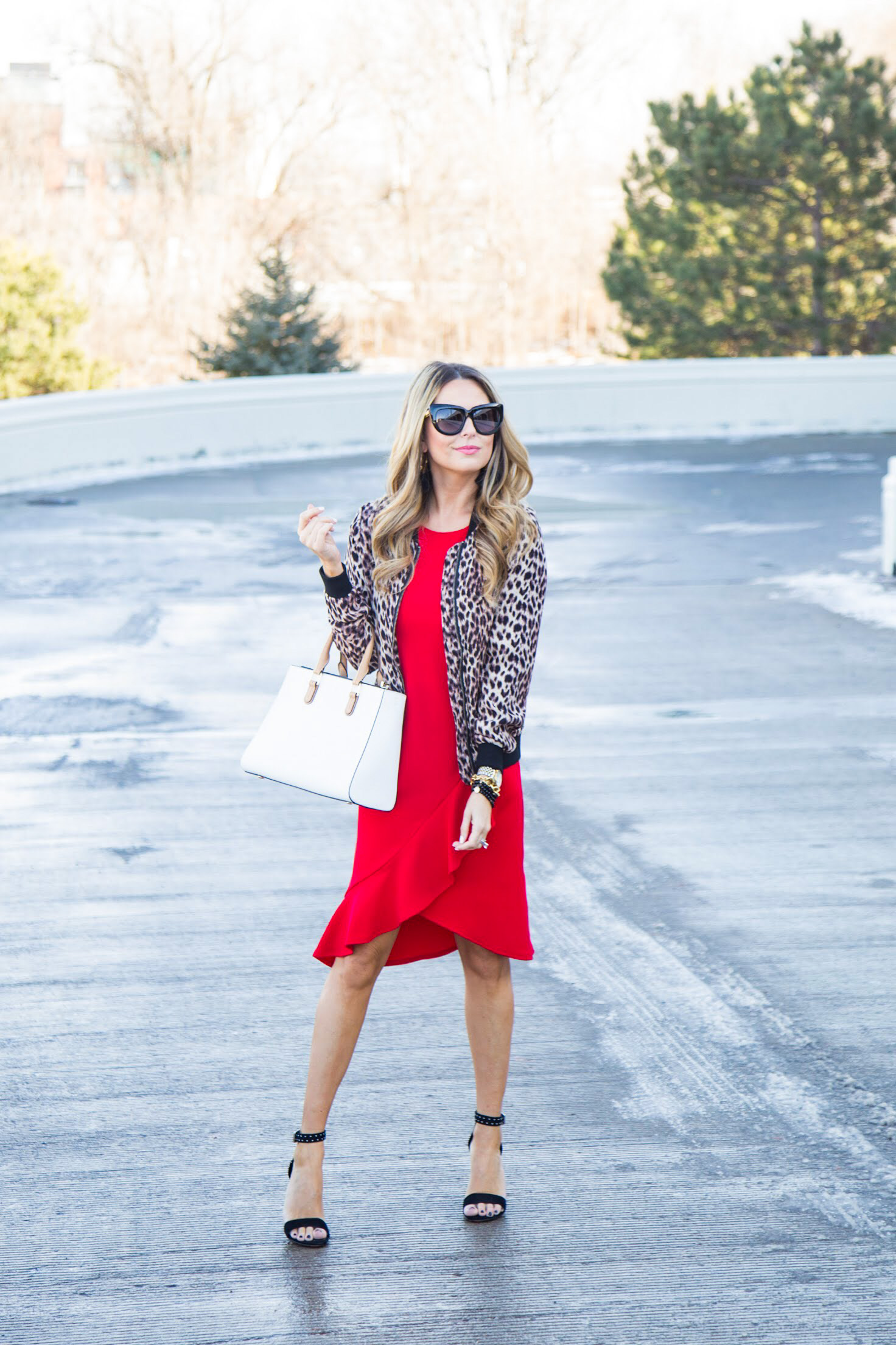 red dress from Gordmans with leopard bomber jacket and black studded heels