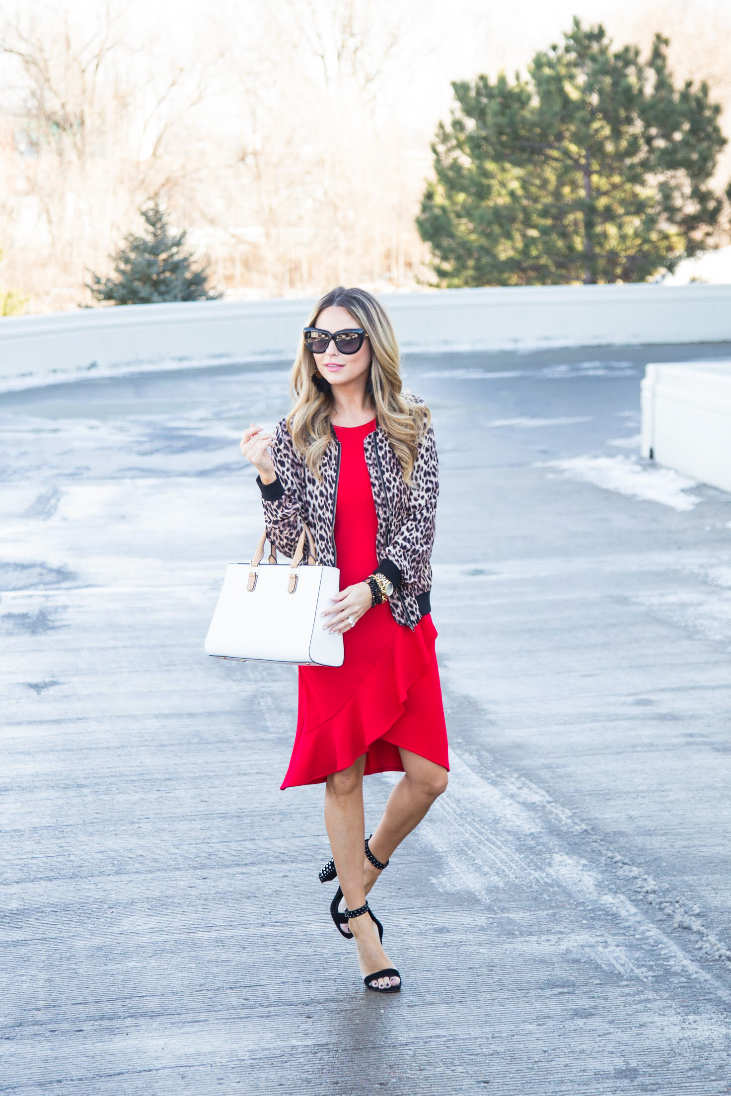 red dress from Gordmans with leopard bomber jacket and Henri Bendel satchel