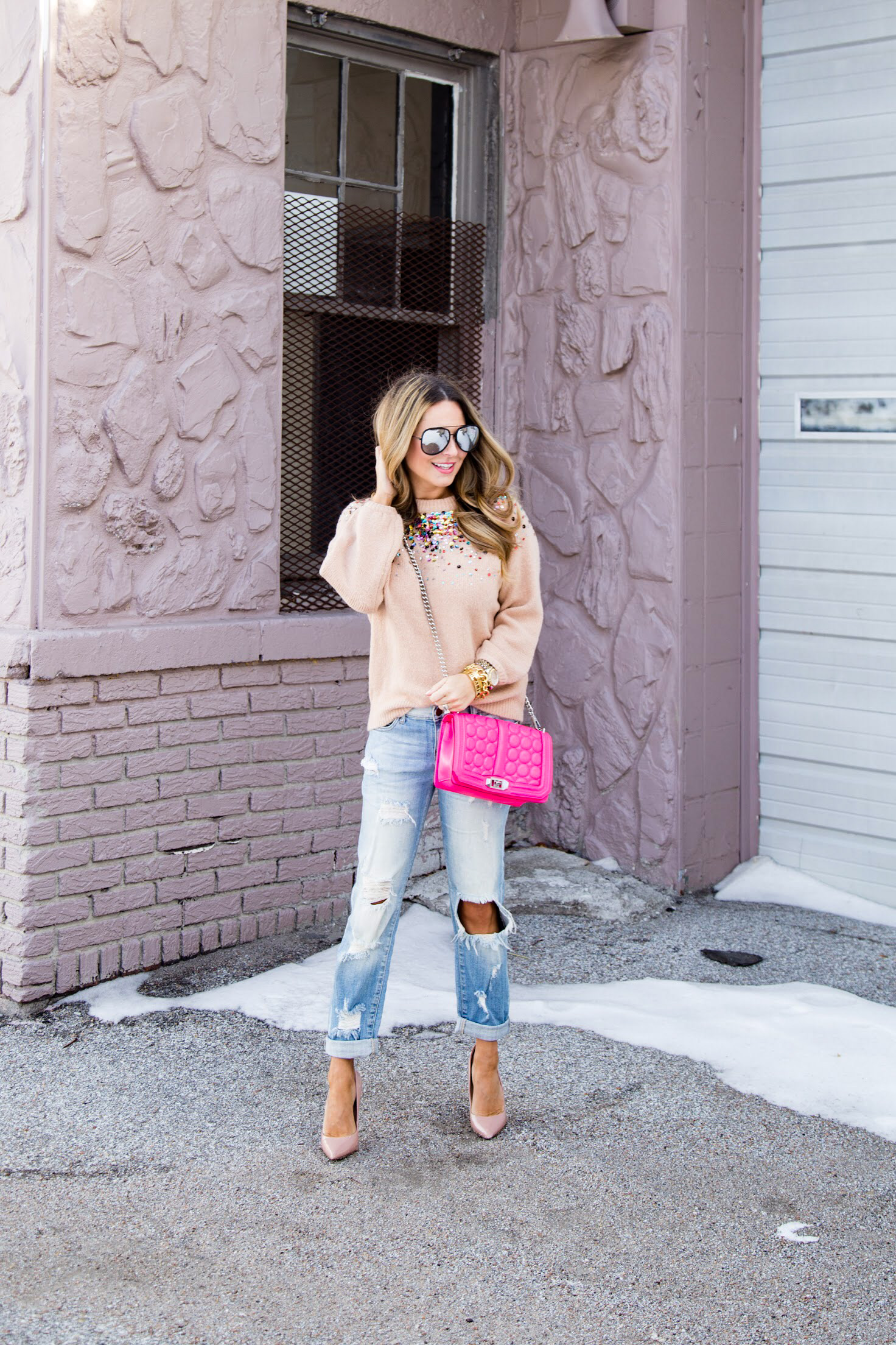 9fdc70143c0 Sequin Sweater with Boyfriend Jeans and Heels for Valentine s ...