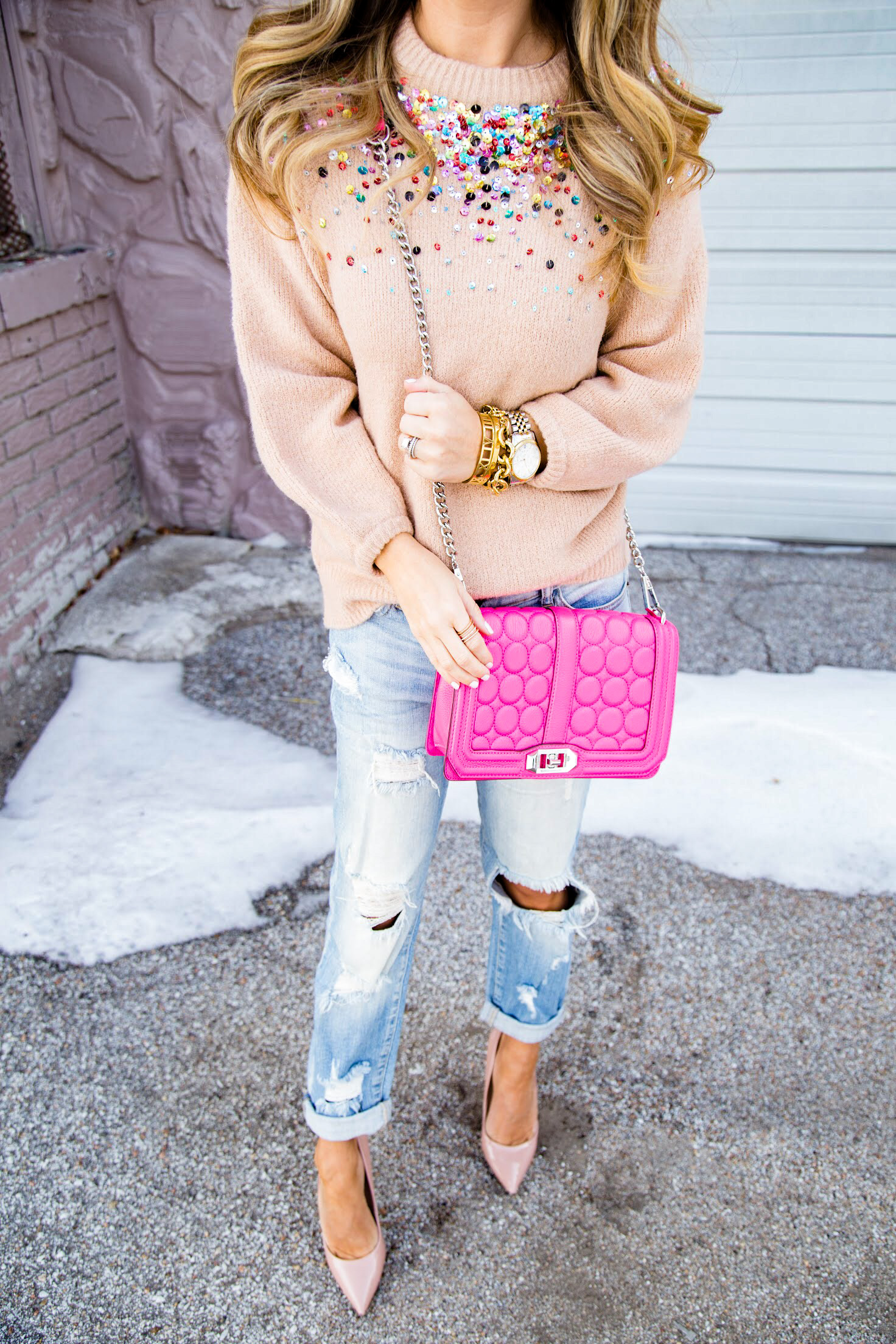 SheIn sequin sweater and nude pumps