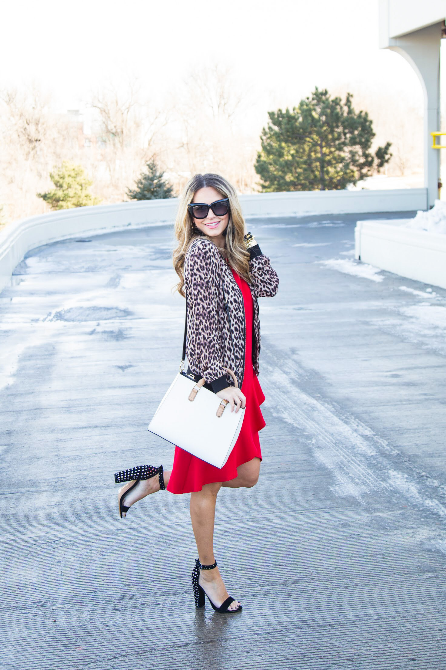 red dress from Gordmans with leopard bomber jacket from Evereve