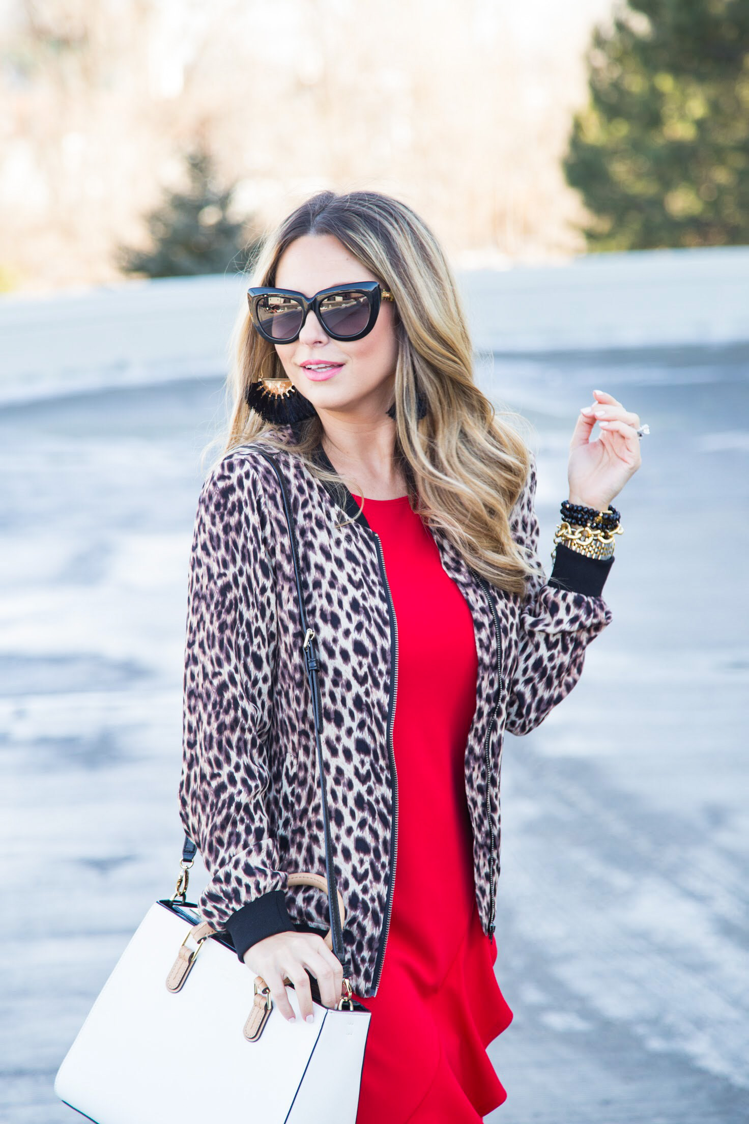 red dress from Gordmans with leopard bomber jacket for Valentine's Day