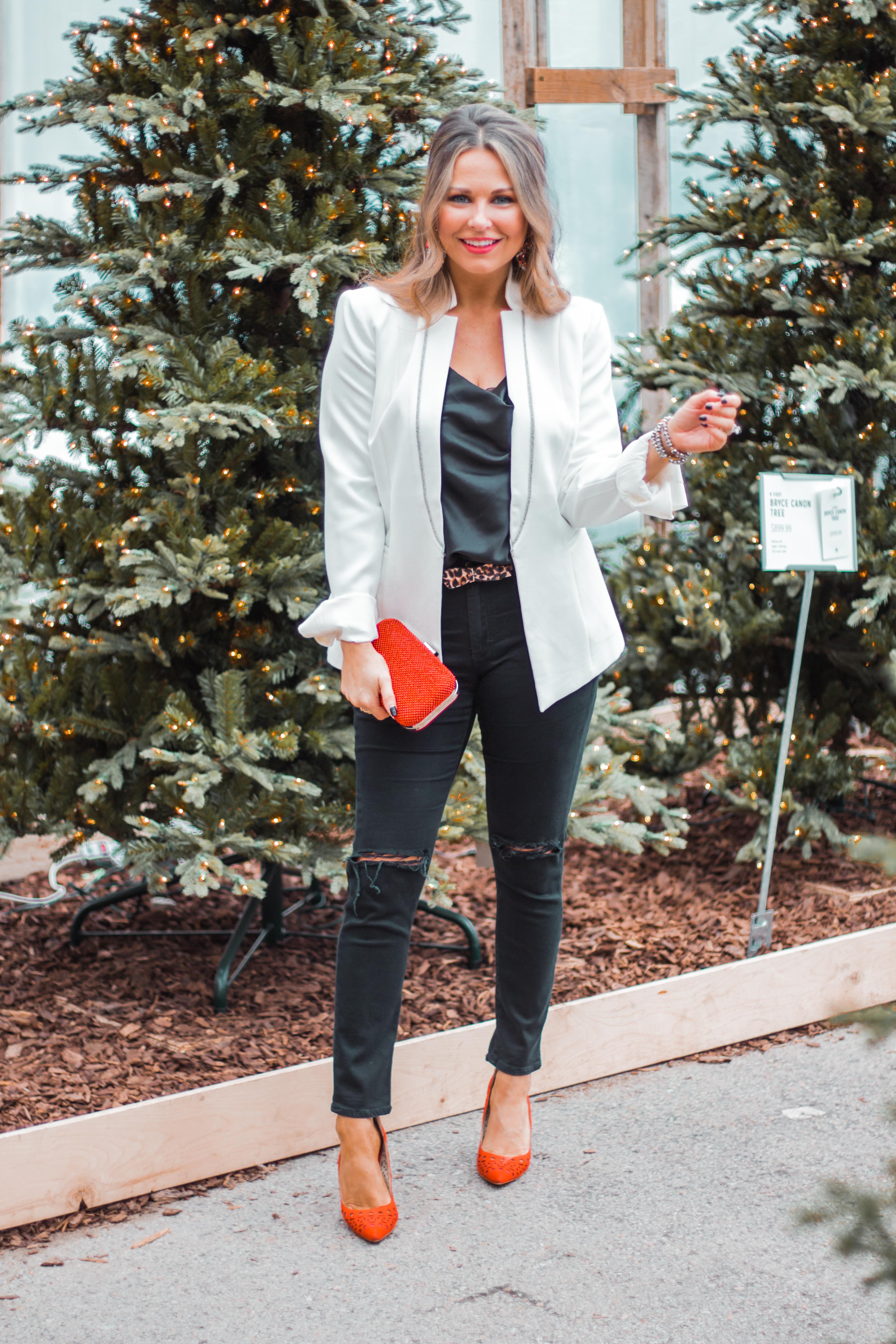 White Blazer Holiday Glam