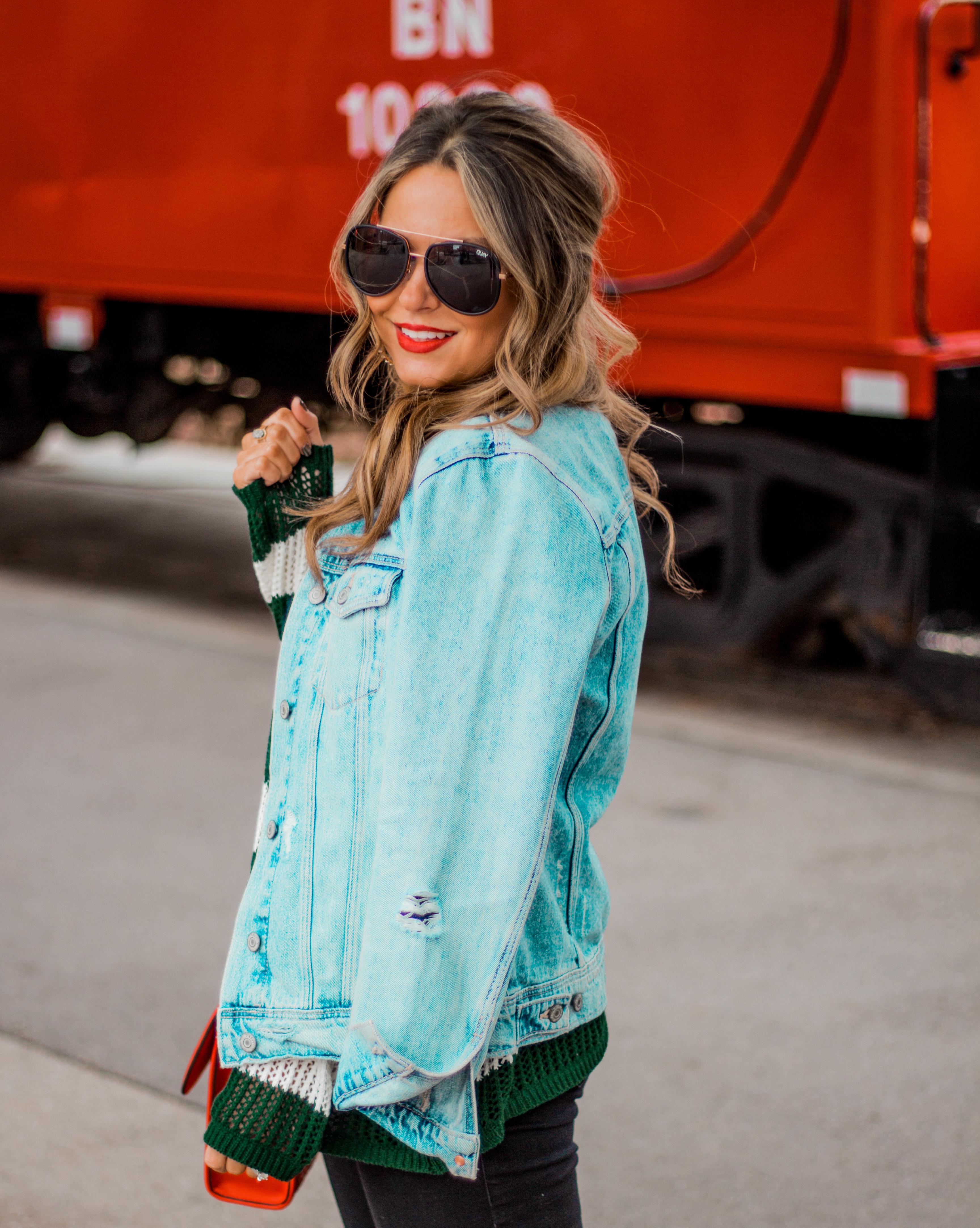 quay sunglasses, old navy jean jacket