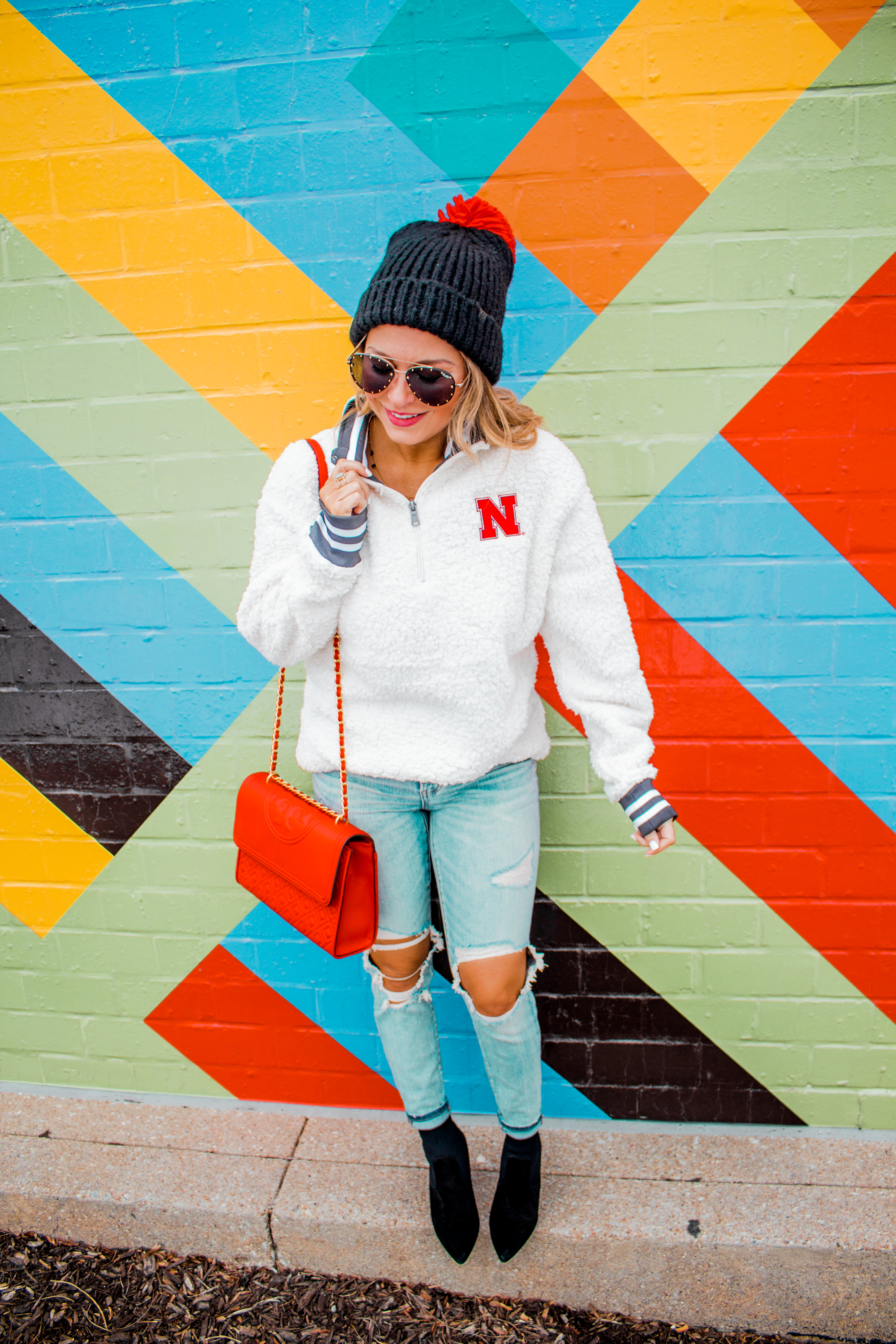 Nebraska - Women's Fashion - Sherpa - Husker - Pullover - Husker Gear - Omaha Blogger - Sabby Style - Casual Outfit - 17