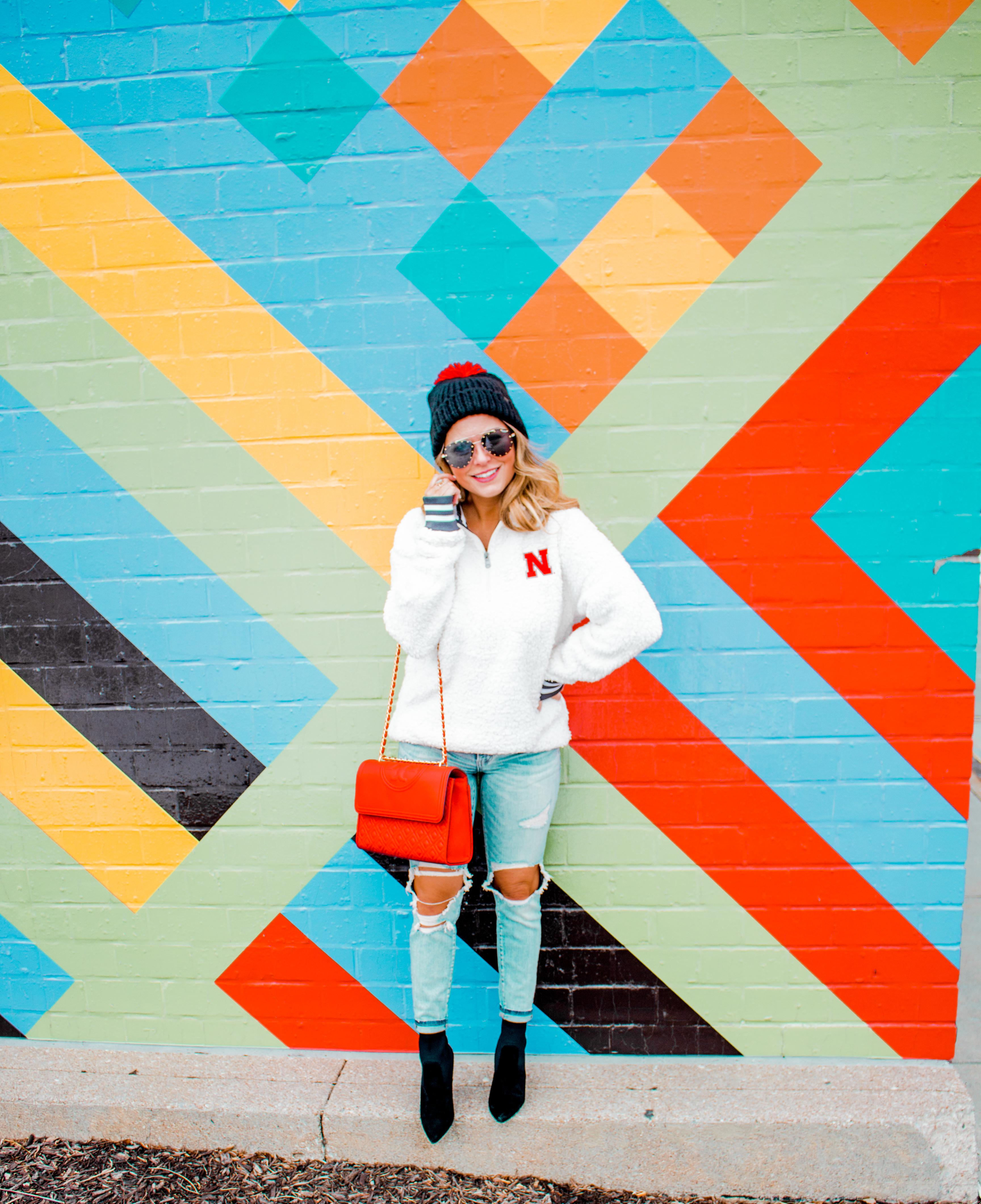 Nebraska - Women's Fashion - Sherpa - Husker - Pullover - Husker Gear - Omaha Blogger - Sabby Style - Casual Outfit - 7