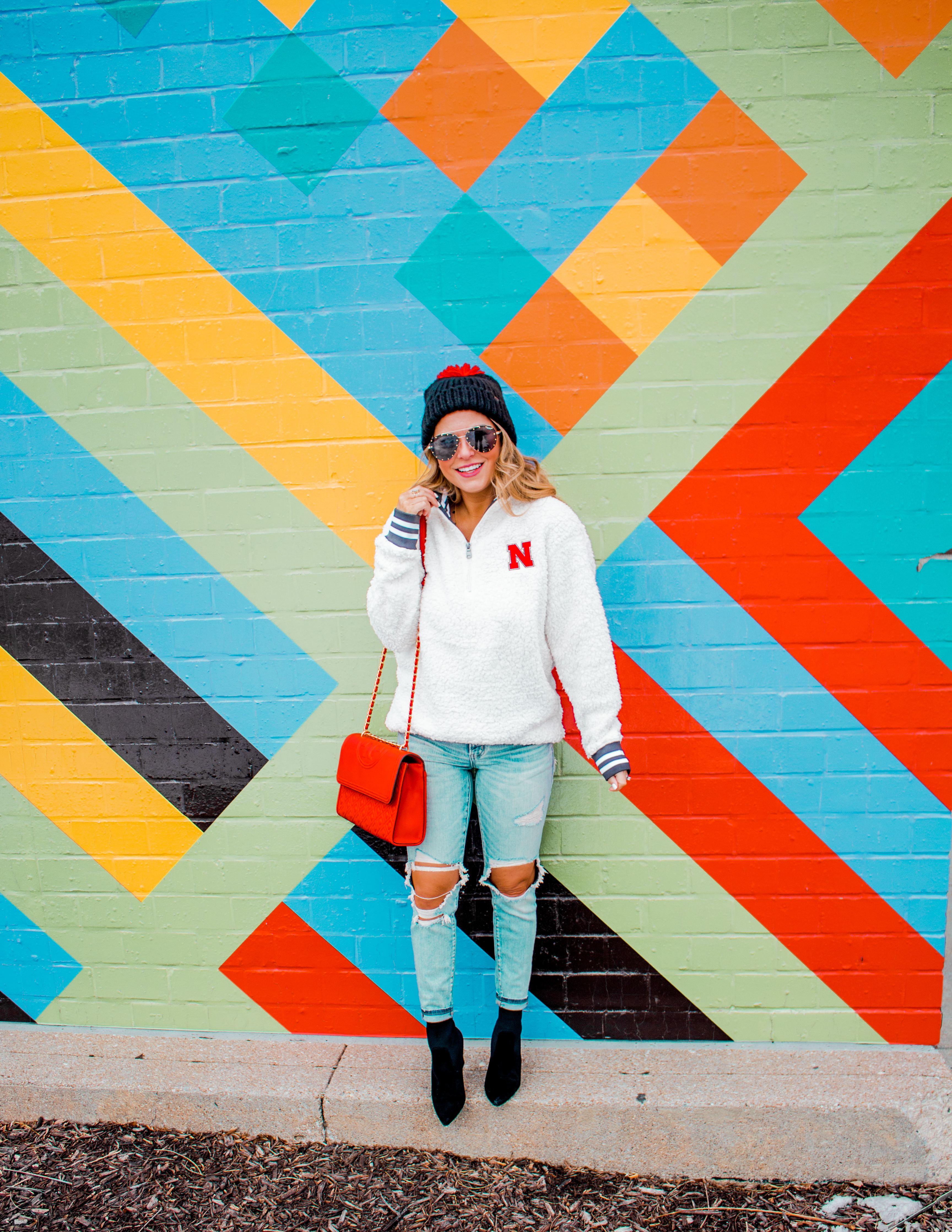 Nebraska - Women's Fashion - Sherpa - Husker - Pullover - Husker Gear - Omaha Blogger - Sabby Style - Casual Outfit - 3