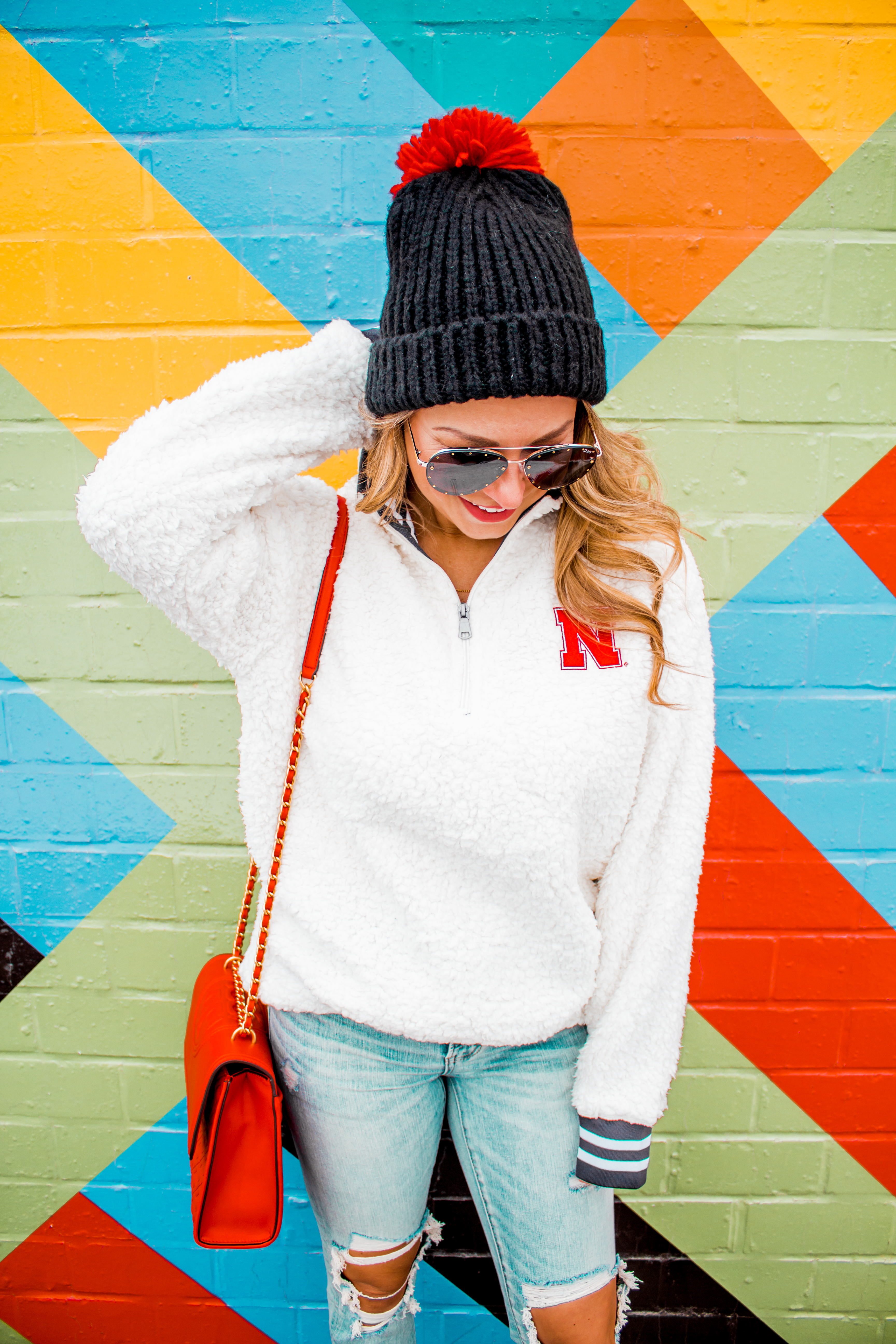 Nebraska - Women's Fashion - Sherpa - Husker - Pullover - Husker Gear - Omaha Blogger - Sabby Style - Casual Outfit - 14
