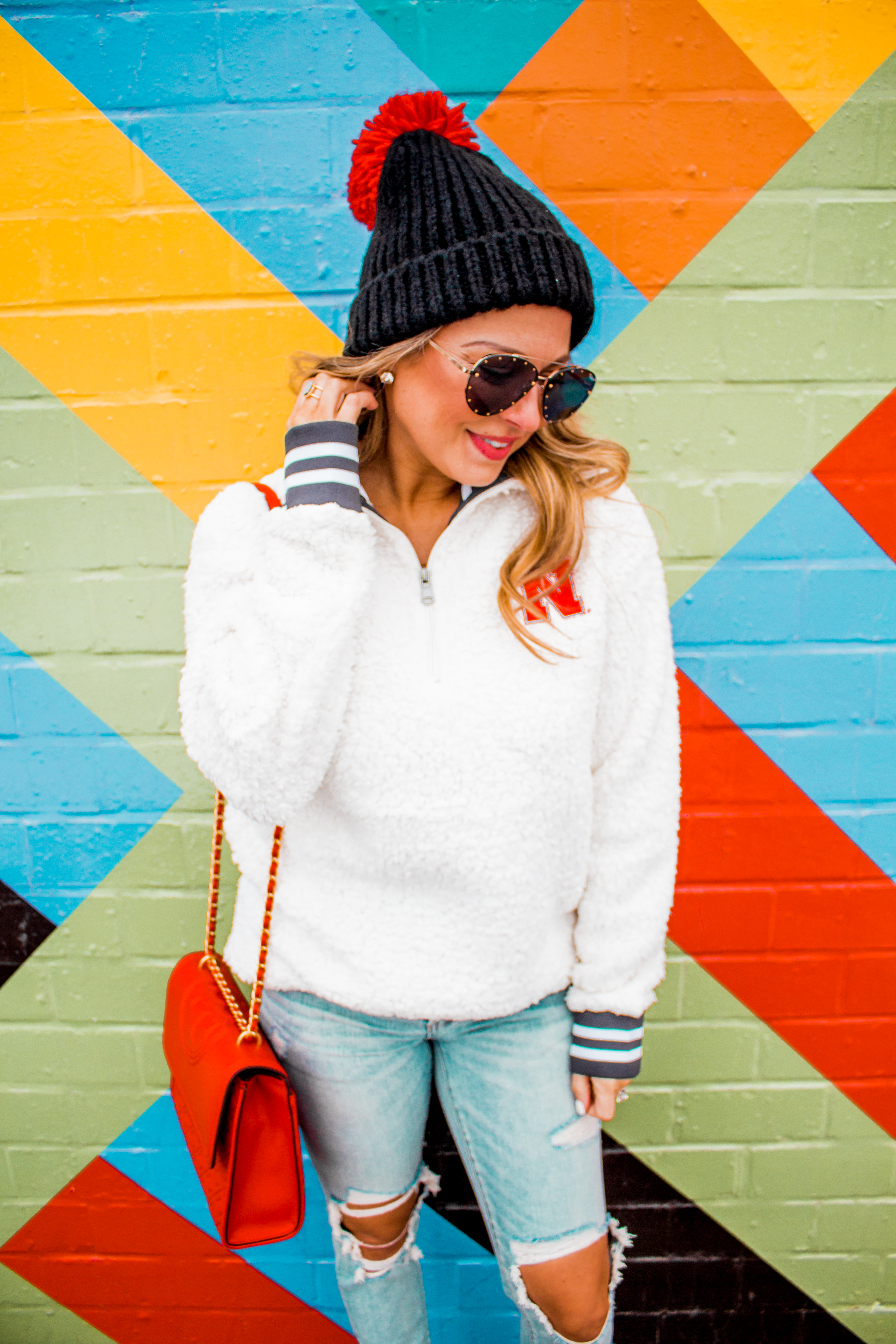 Nebraska - Women's Fashion - Sherpa - Husker - Pullover - Husker Gear - Omaha Blogger - Sabby Style - Casual Outfit - 2